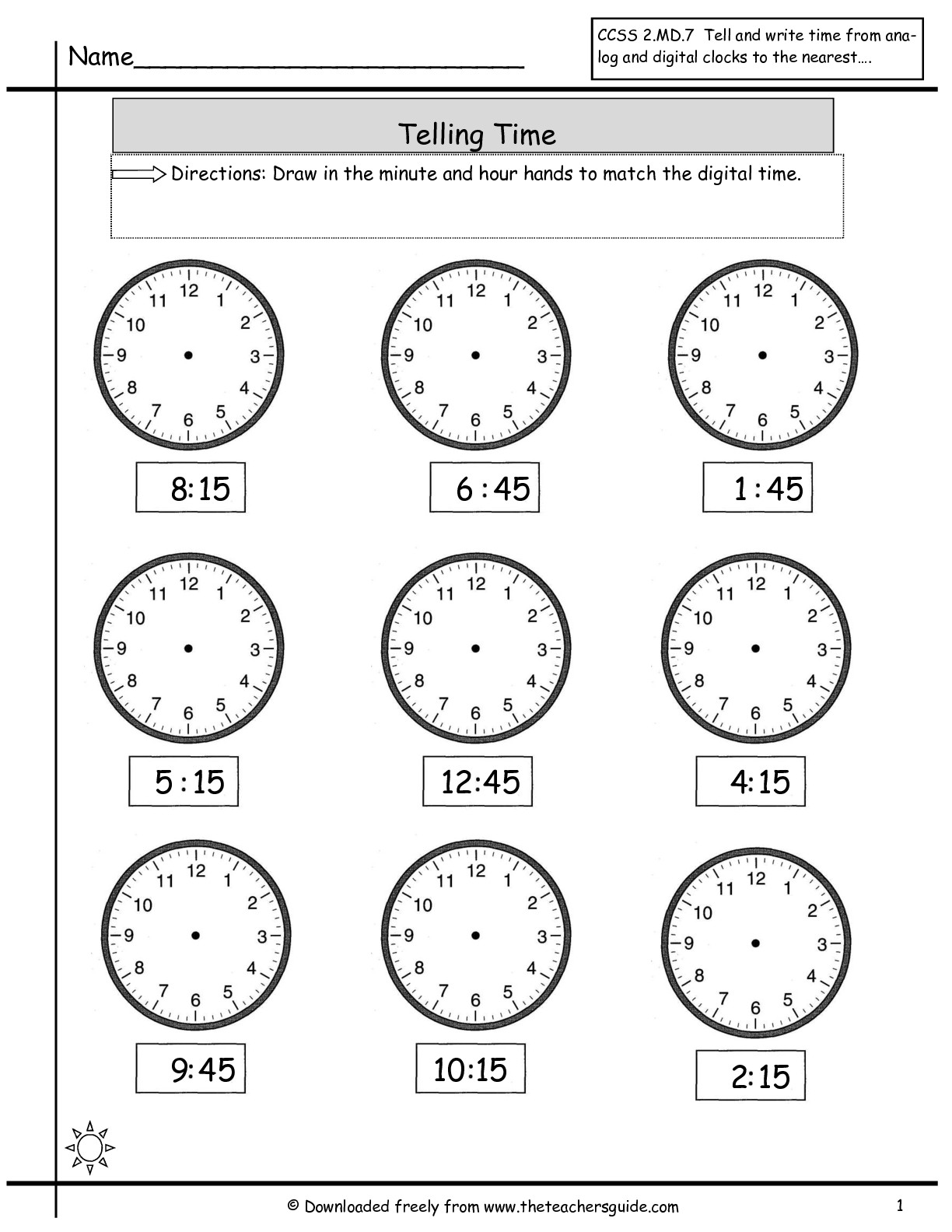 15 Best Images Of Worksheets Matching Clocks To Time