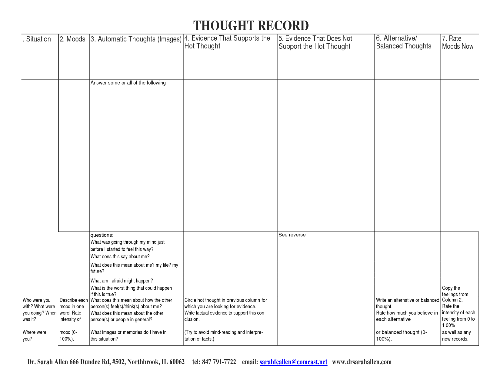 16 Best Images Of Automatic Thoughts Worksheet