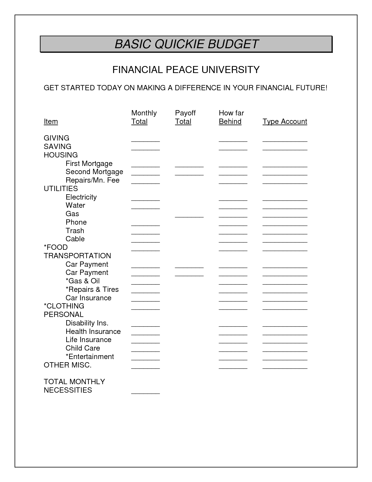 11 Best Images Of Monthly Financial Planning Worksheets