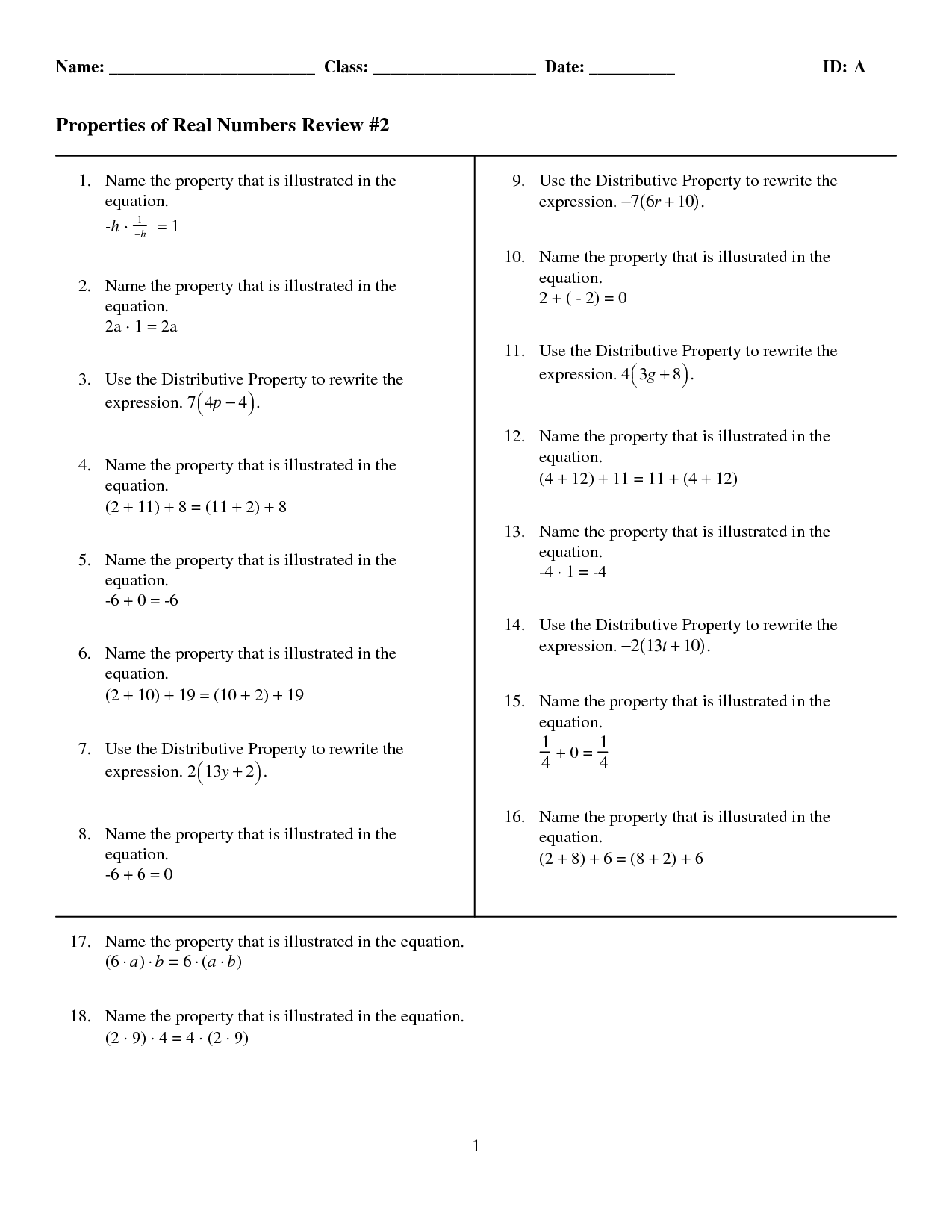 30 Properties Of Real Numbers Worksheet