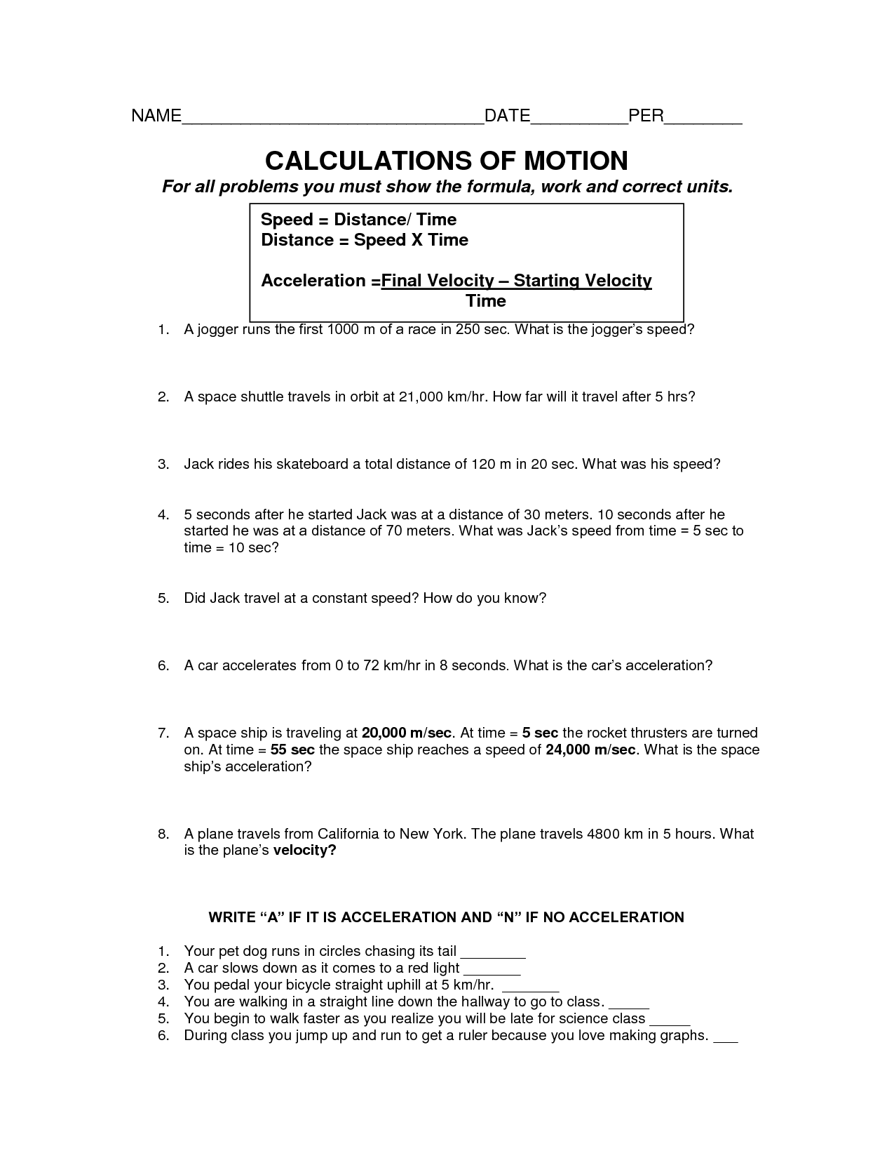 16 Best Images Of Speed And Motion Worksheet