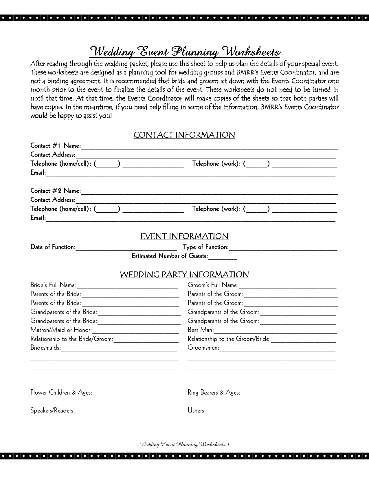 Reception Planner Worksheet