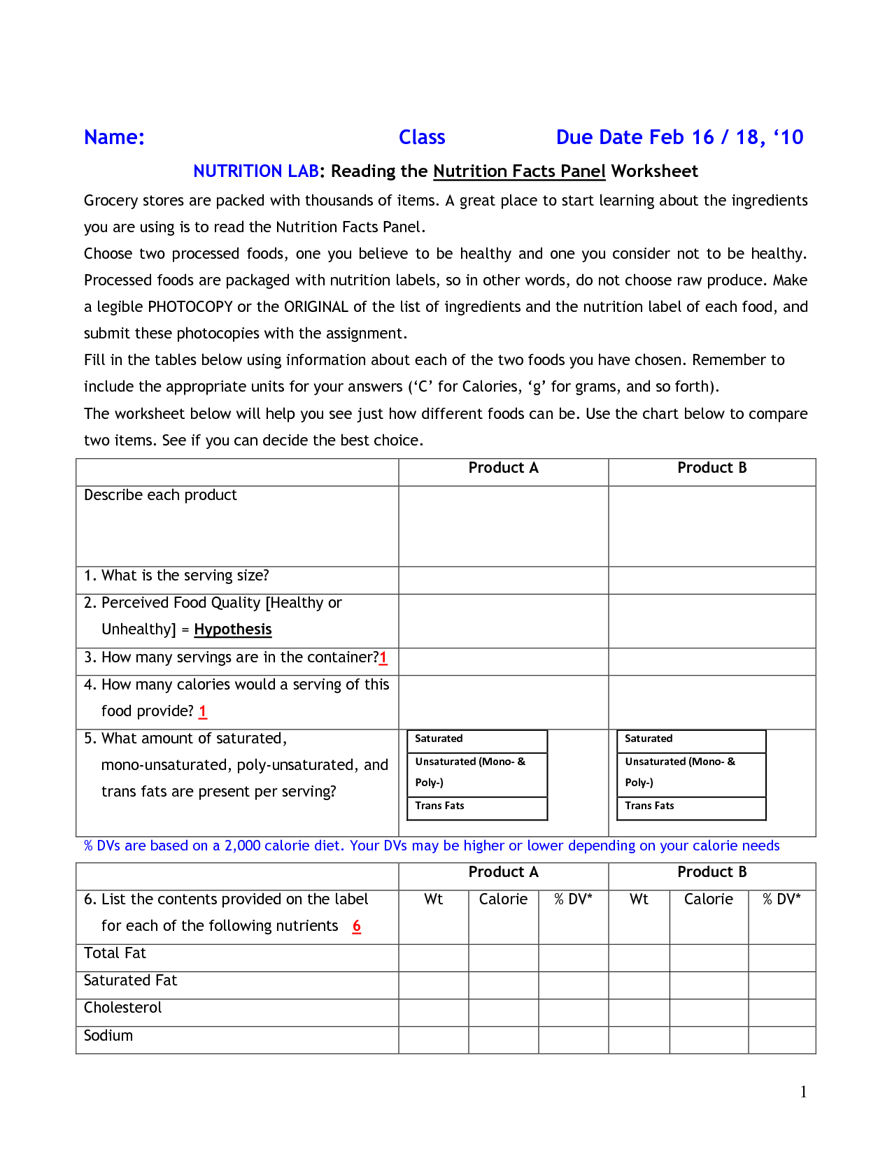 Vitamin Food Label Worksheet