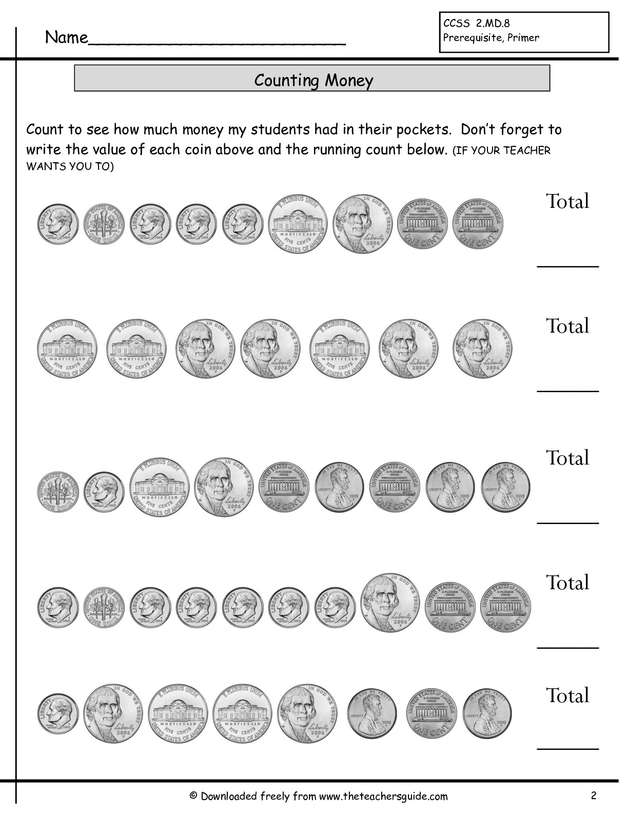 12 Best Images Of Printable Money Worksheets