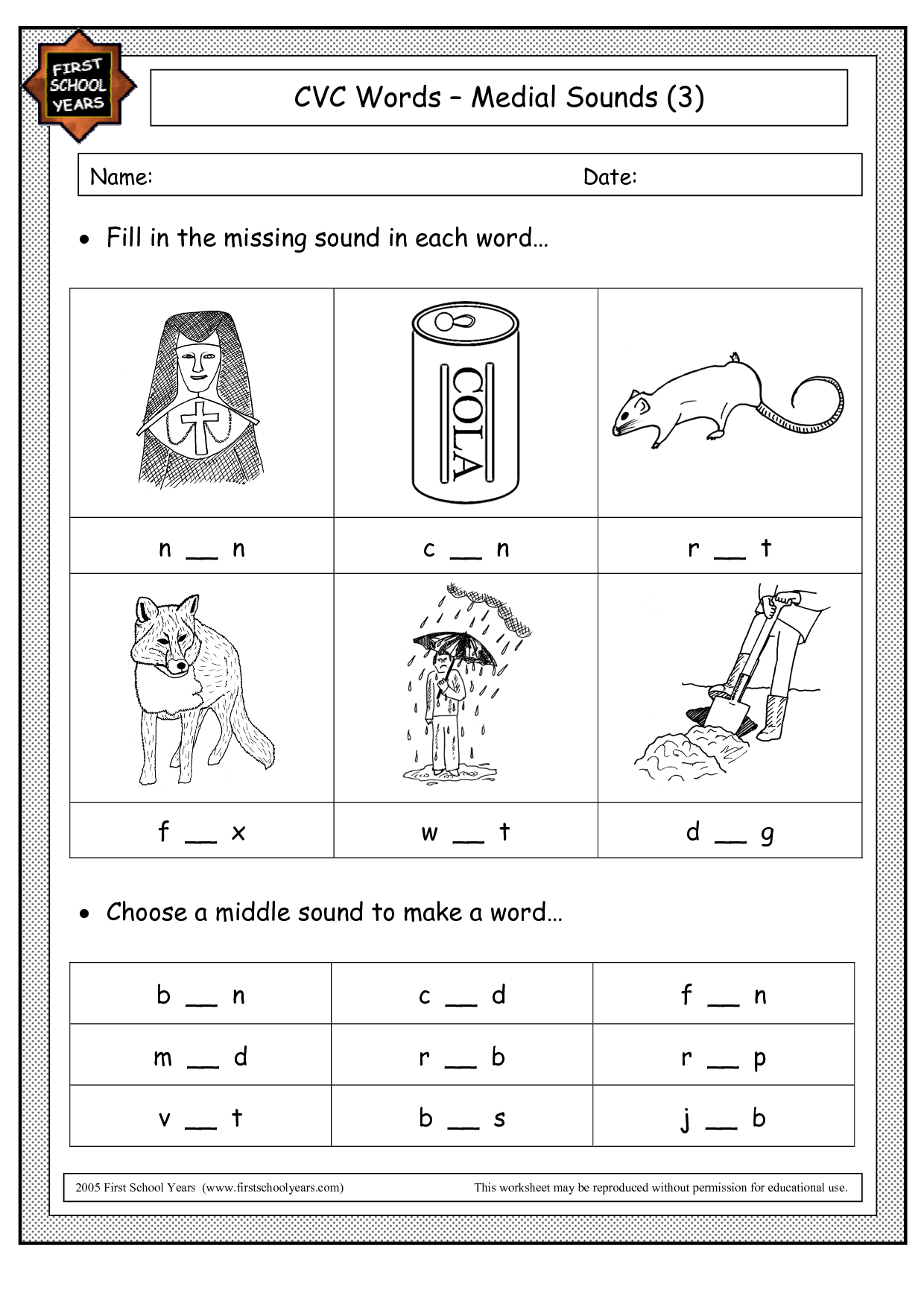 Middle Sound Phonics Worksheets