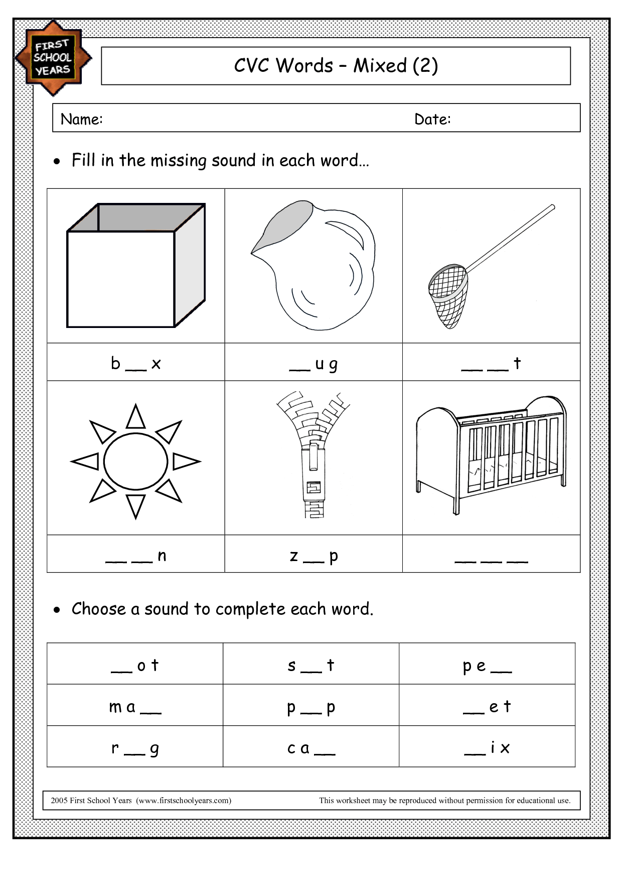 Cvc Dice Worksheet