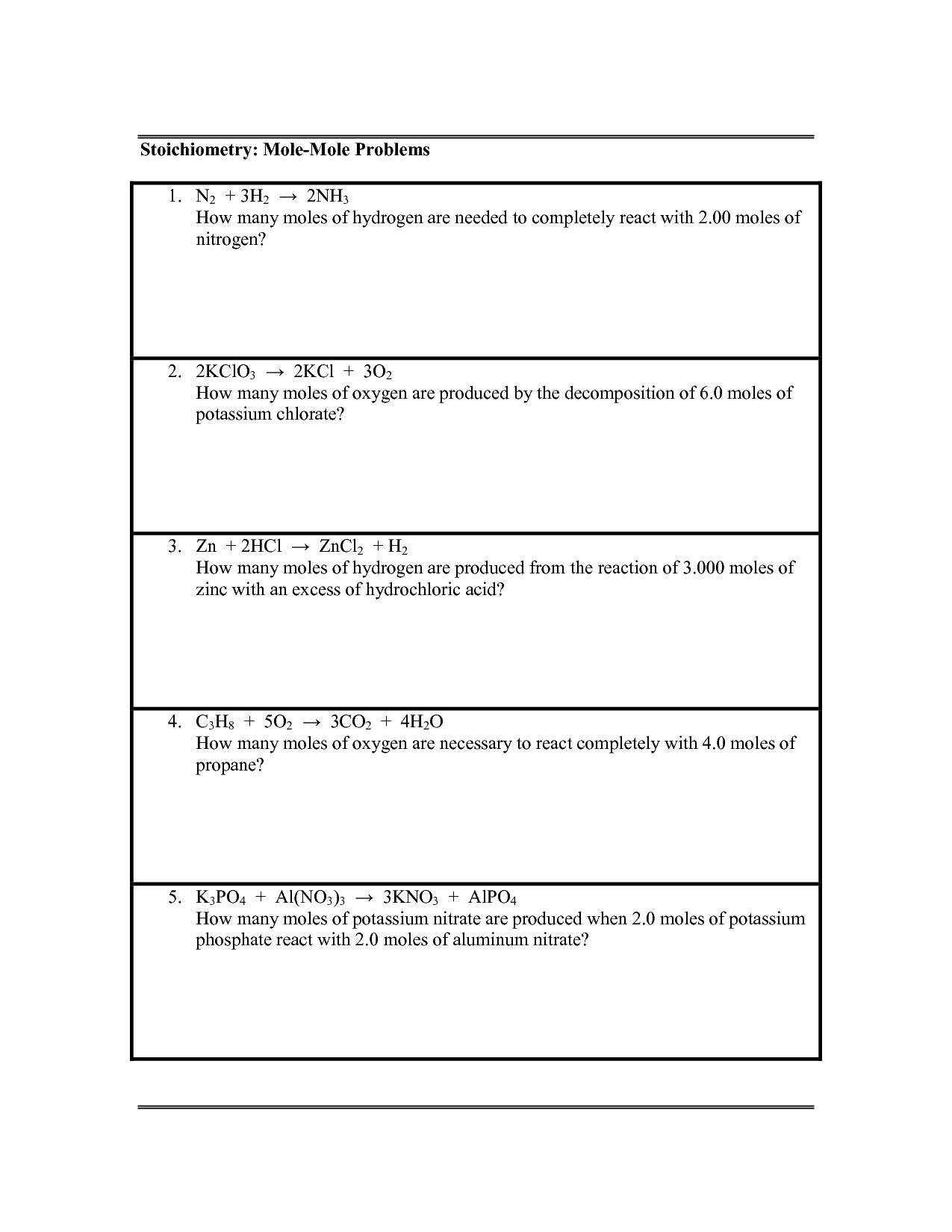 Mole To Mole Worksheet