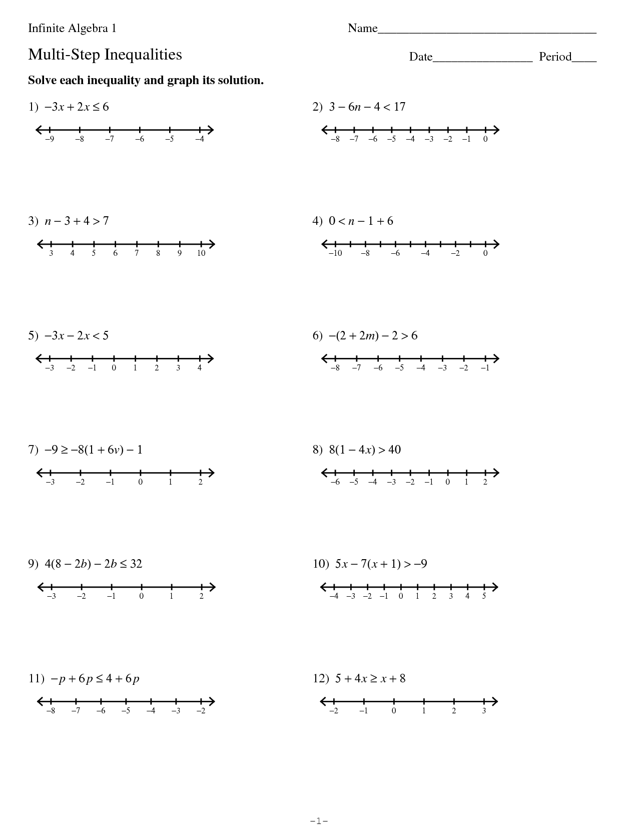Finding 2 Step Variable Worksheet