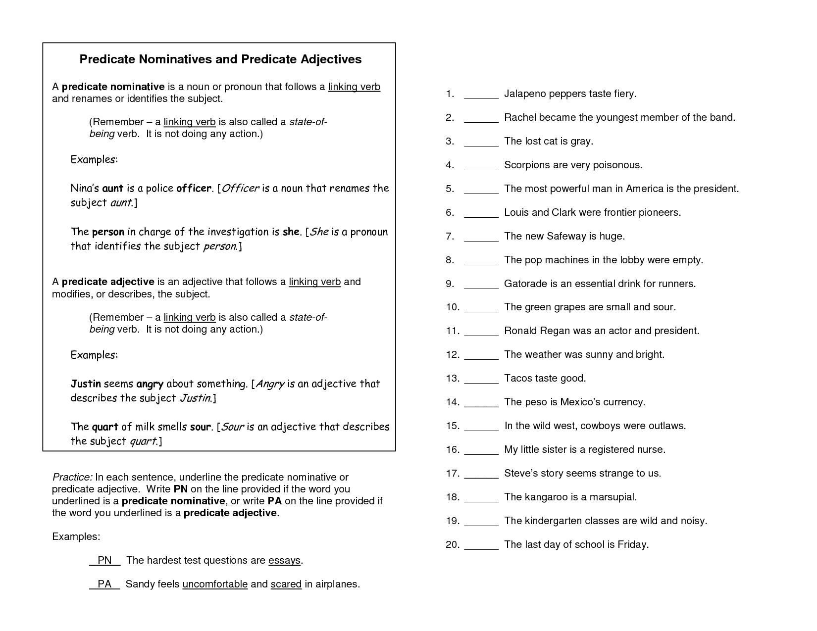 18 Best Images Of Predicate Nominative Practice Worksheet