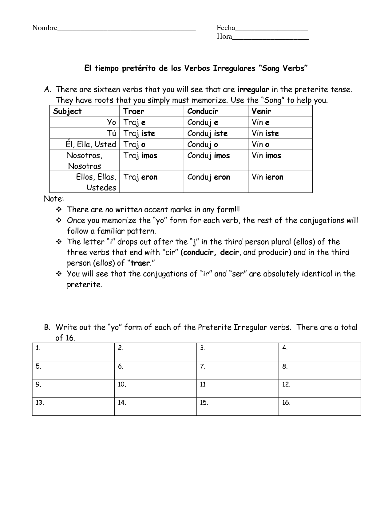 Past Tense Worksheet In Spanish