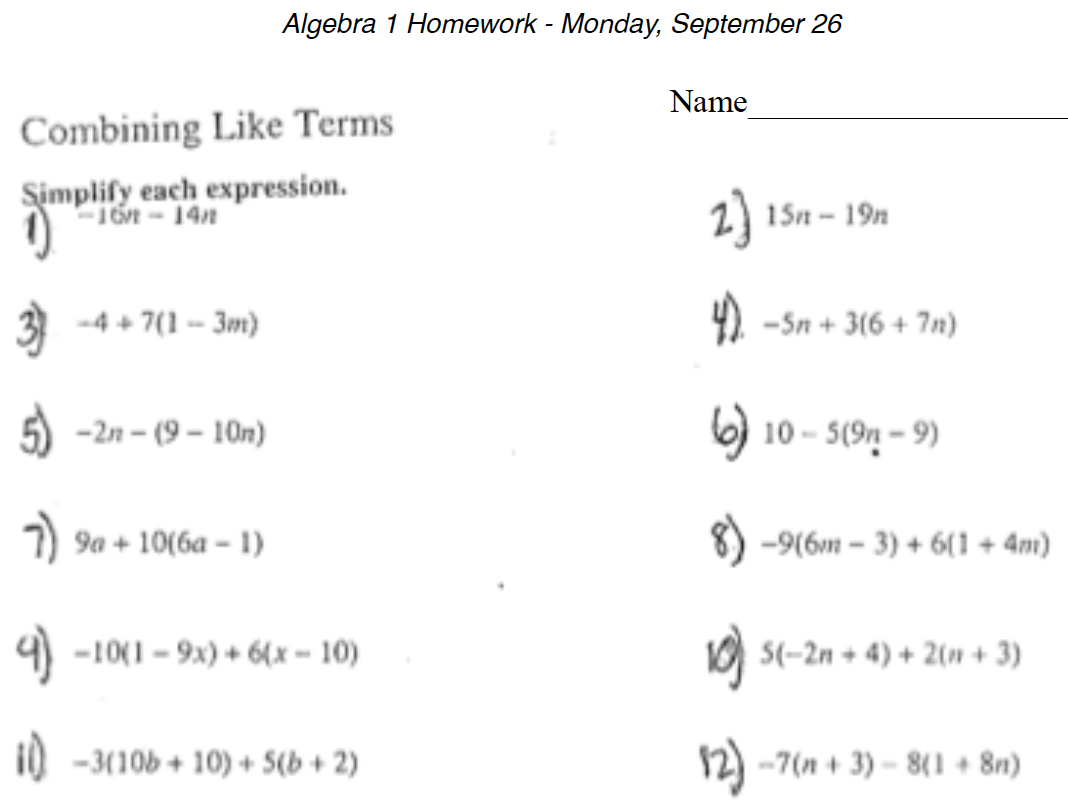Math Worksheet Algebra 1