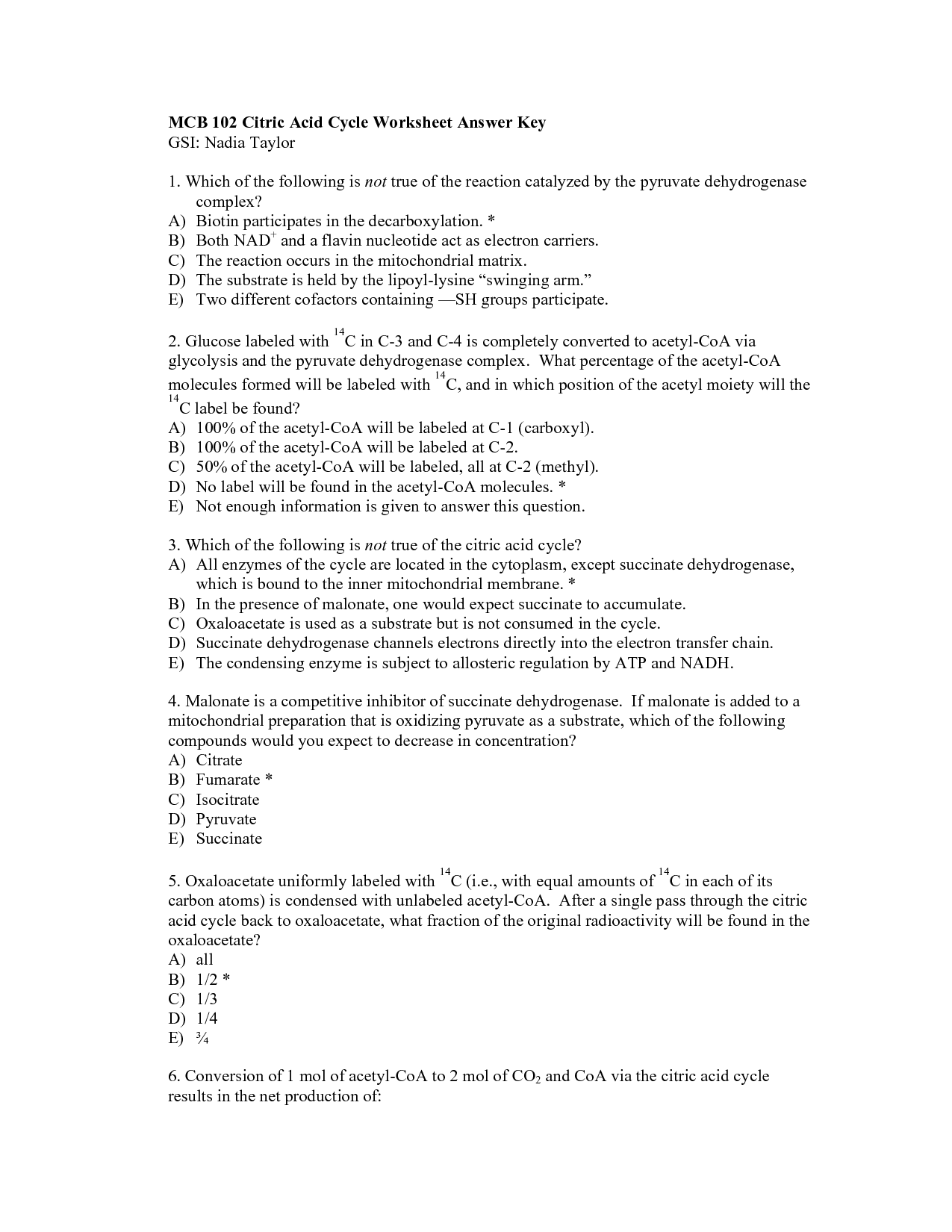 15 Best Images Of Glycolysis Worksheet Answers