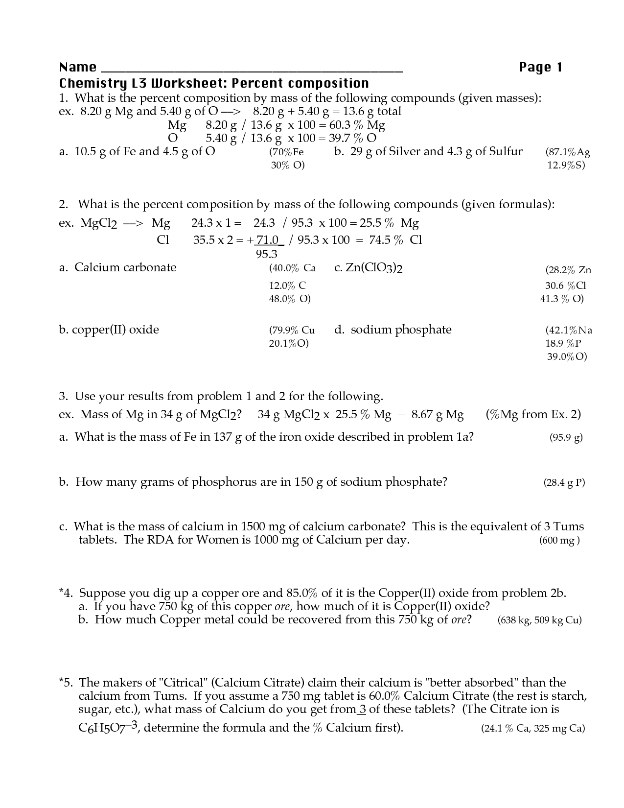 Worksheet Percent Composition By Mass Worksheet Worksheet Fun Worksheet Study Site