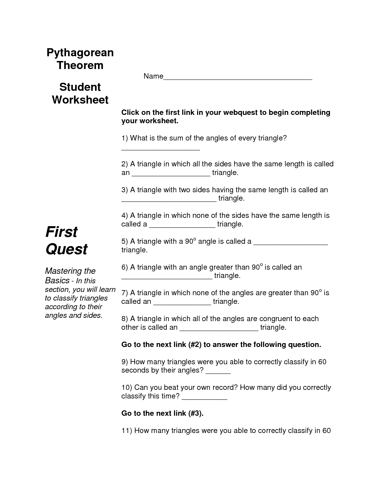 8 Best Images Of Triangle Sum Theorem Worksheet