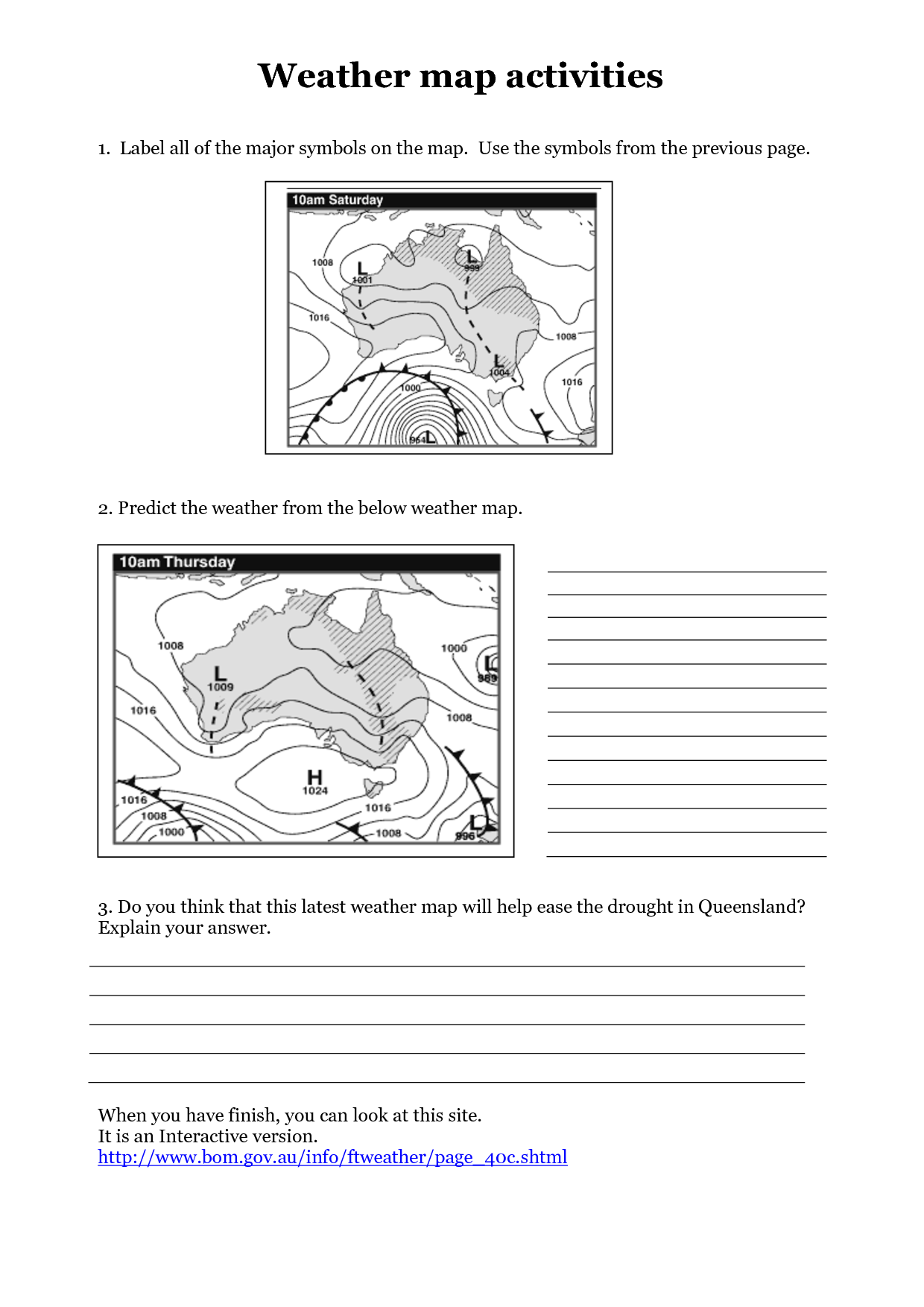 Climate Map Worksheet 4th Grade
