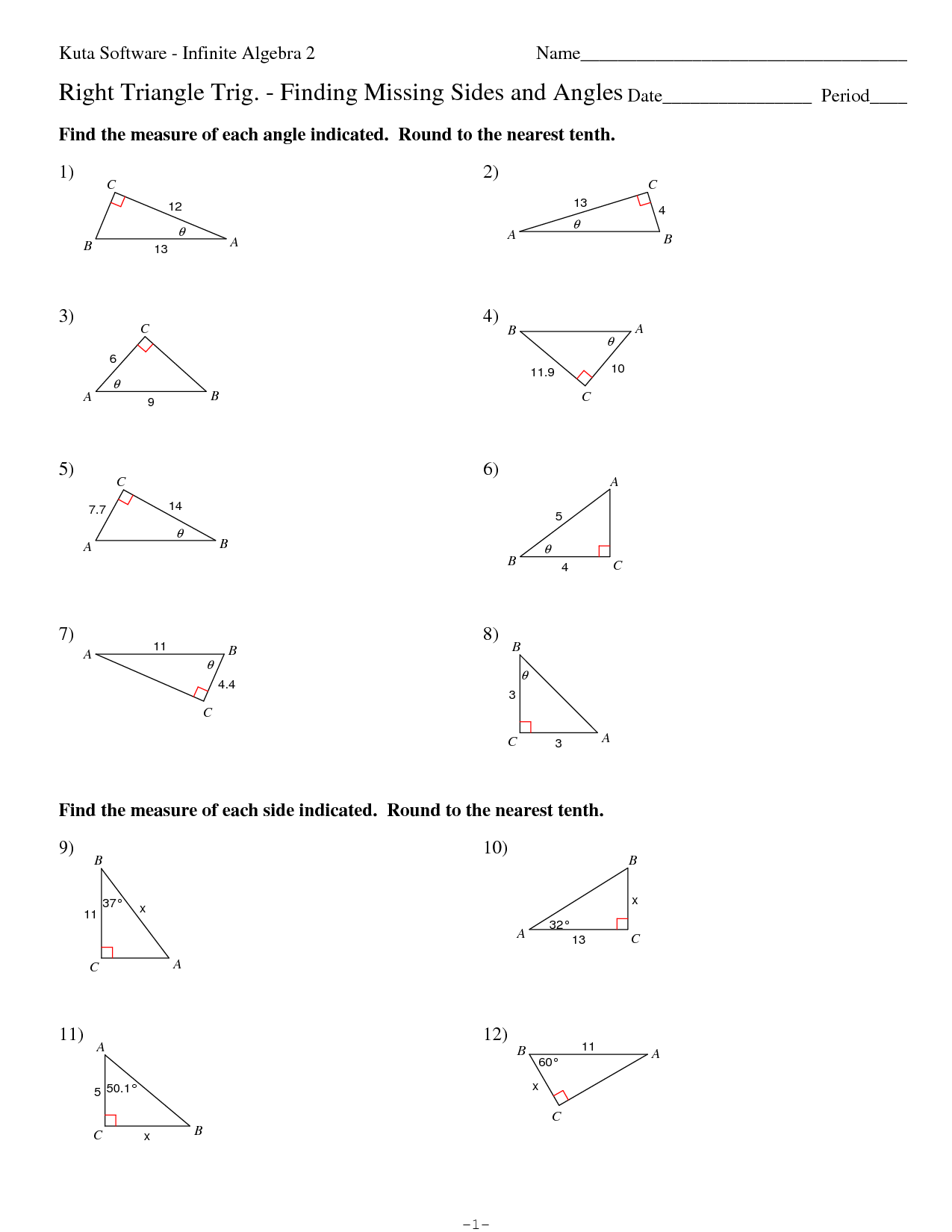 19 Best Images Of Right Triangle Trig Worksheets Right