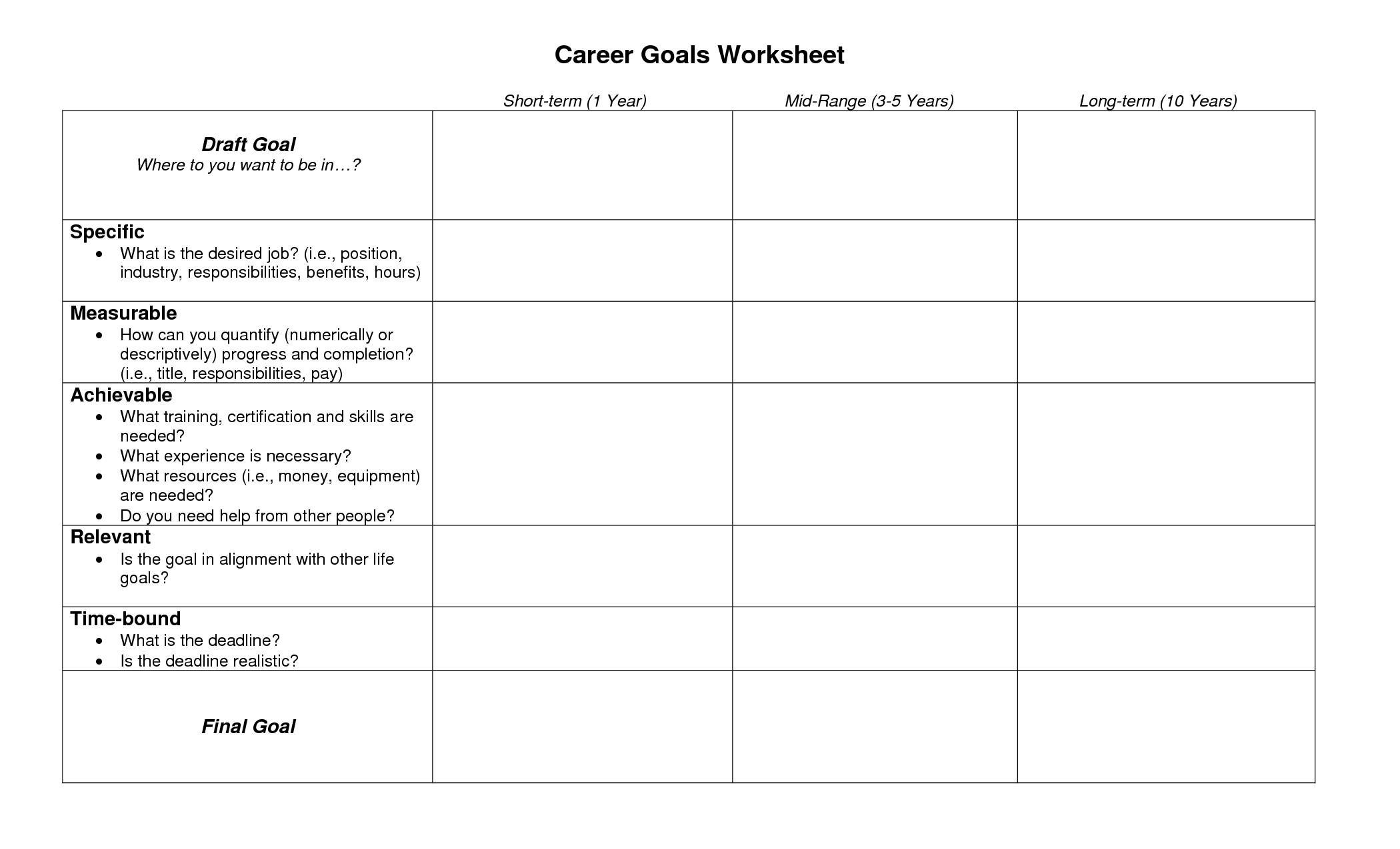 17 Best Images Of Students Career Goals Worksheet