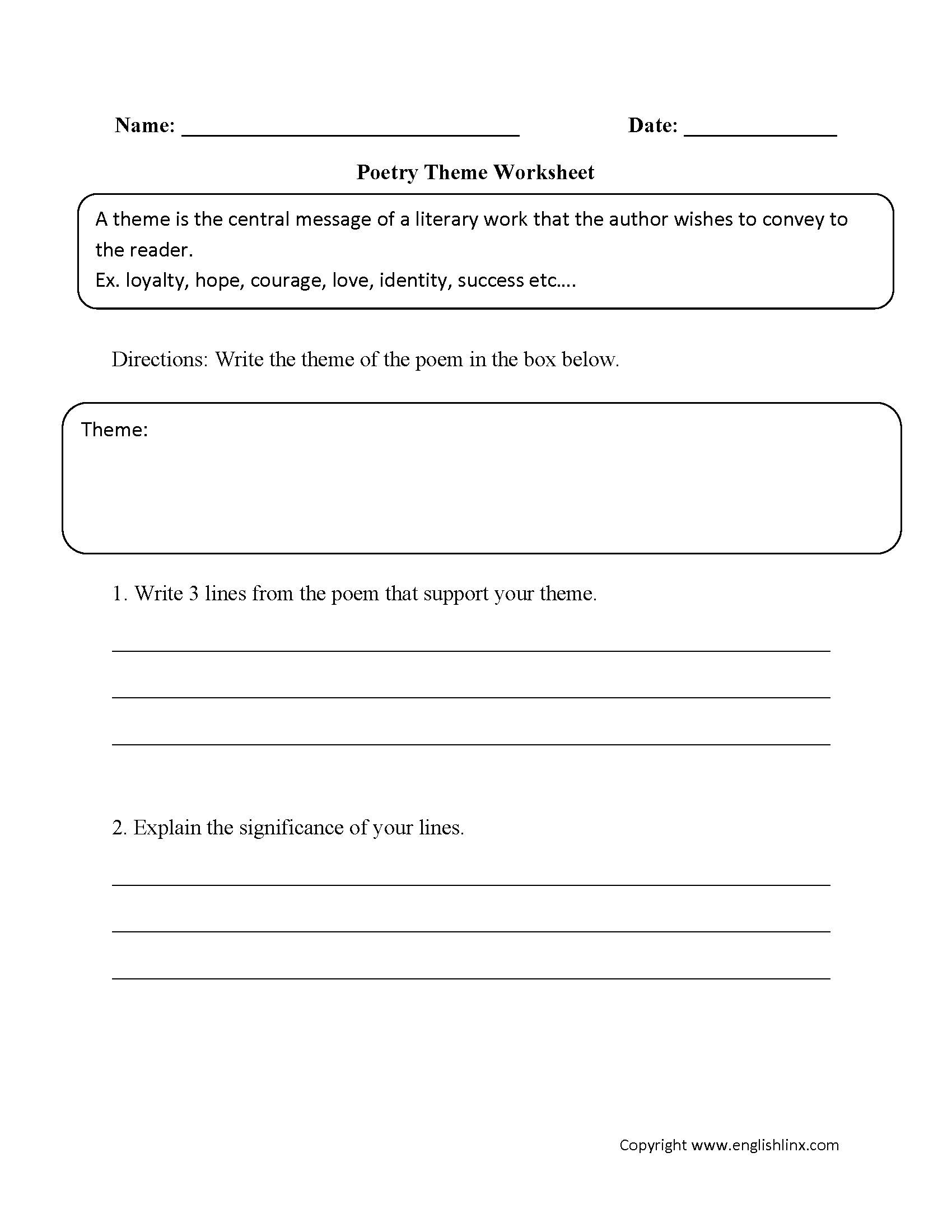 Poetry Worksheet Middle School
