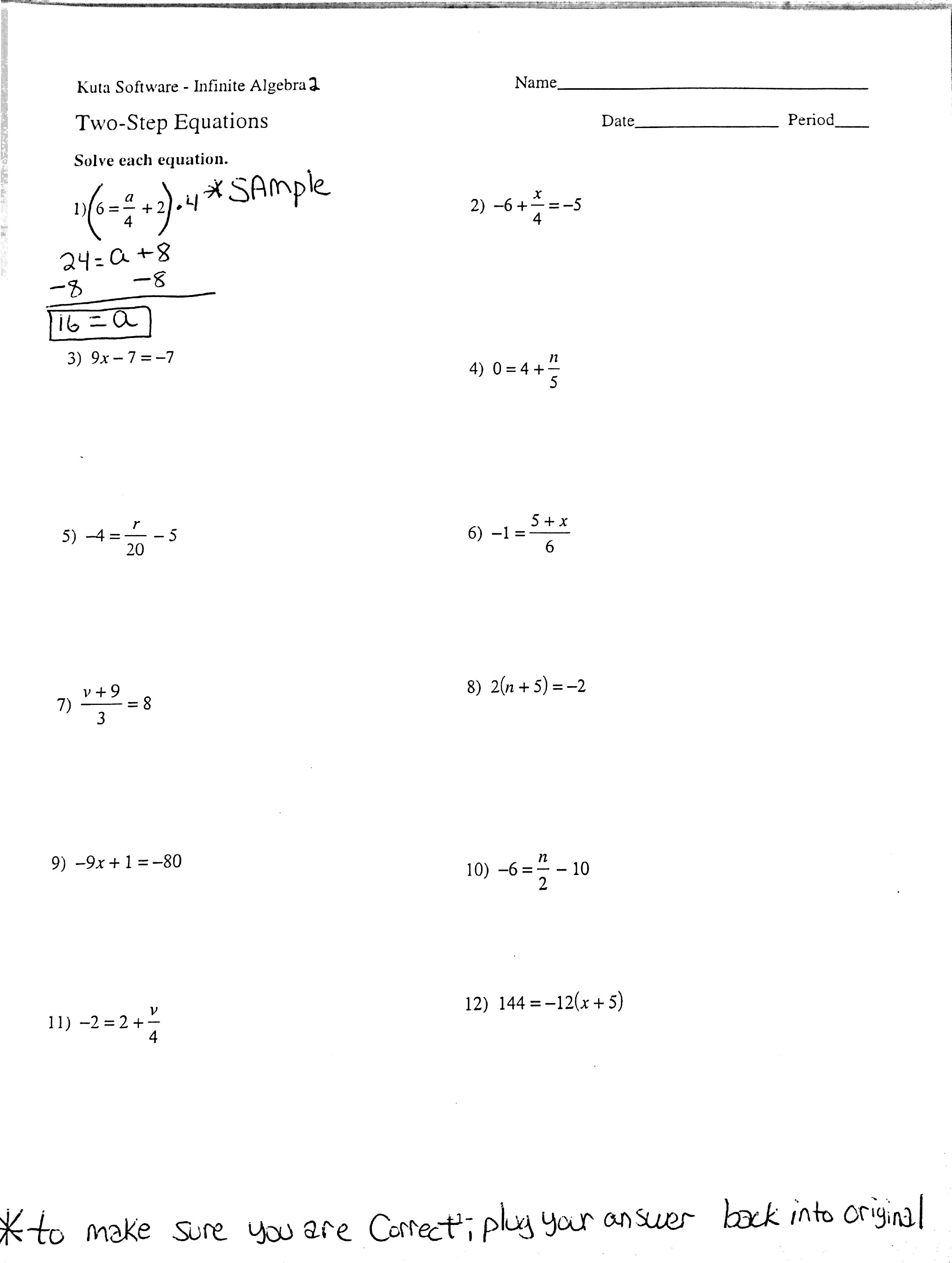 Basic One Step Equations Worksheet