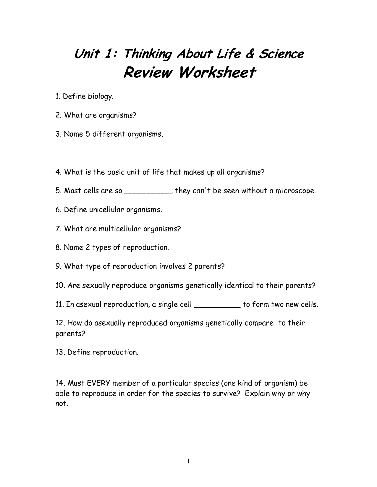 17 Best Images Of Life Science Worksheets