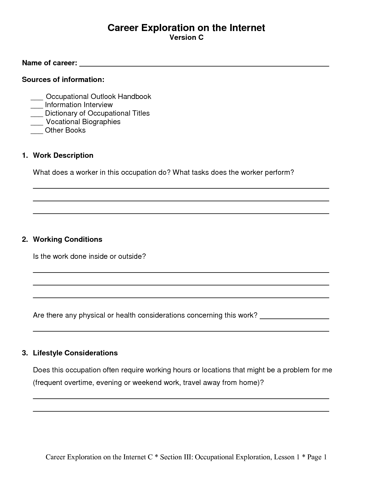 9 Best Images Of Career Research Worksheet
