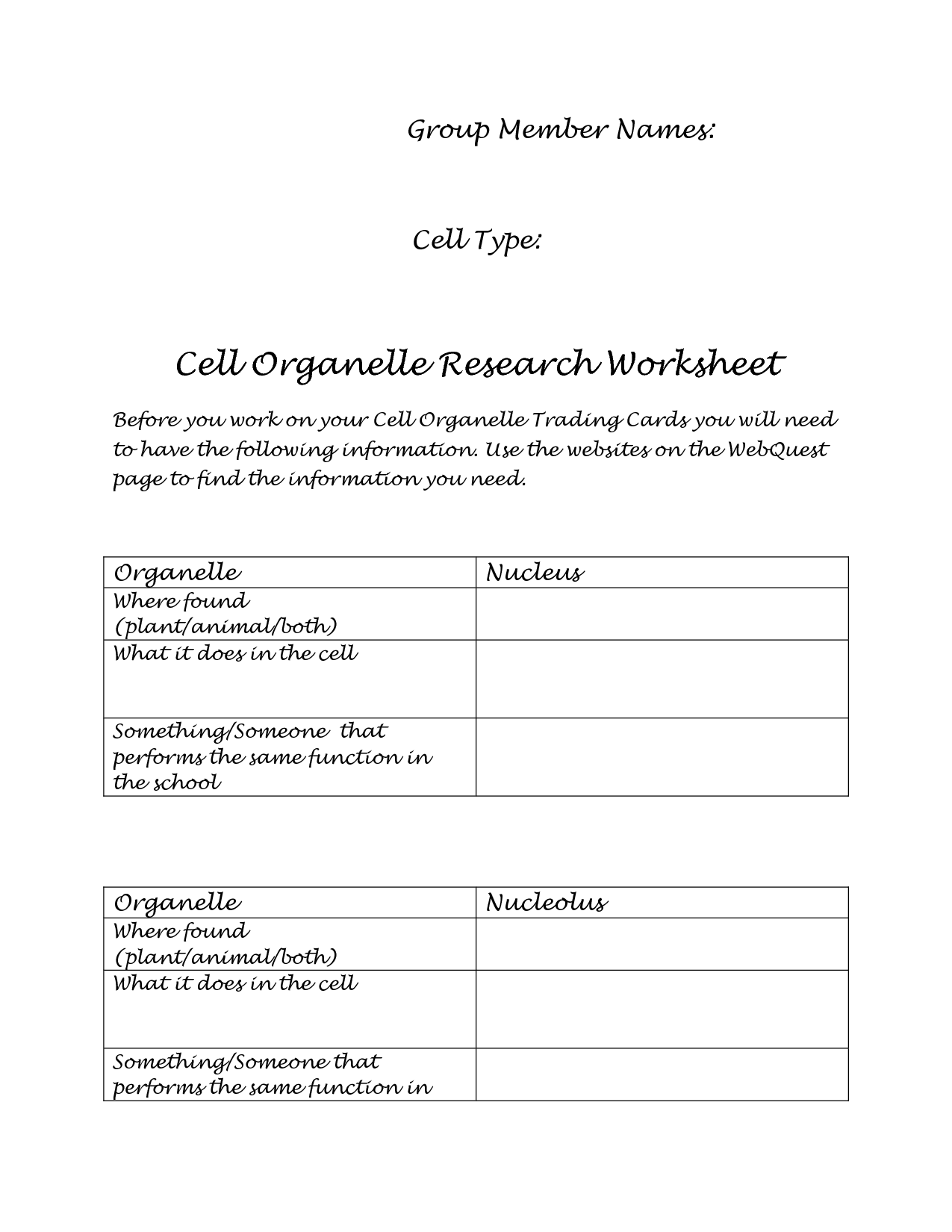 17 Best Images Of Cell Organelle Worksheet