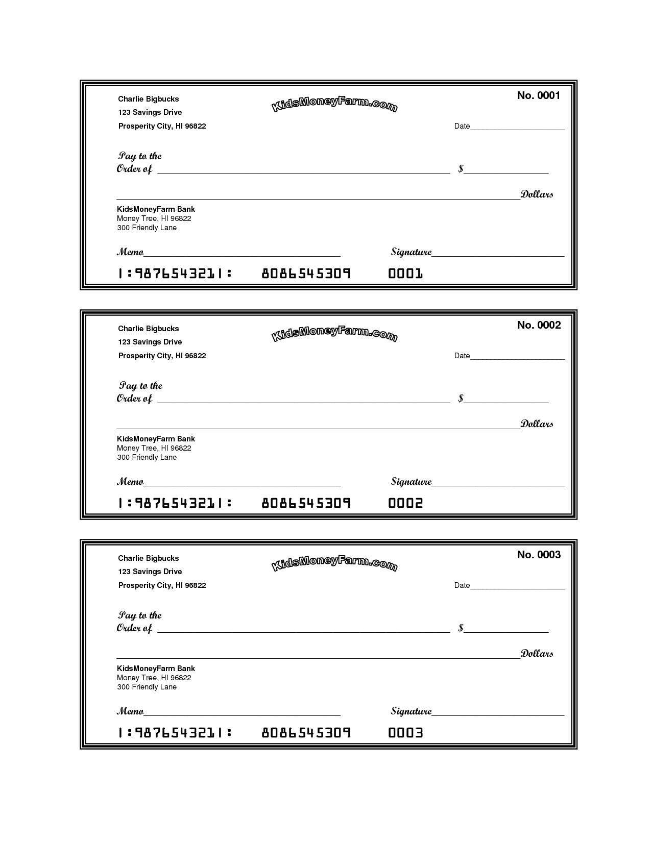 Print Sample Blank Checks Bank Check Writing Template