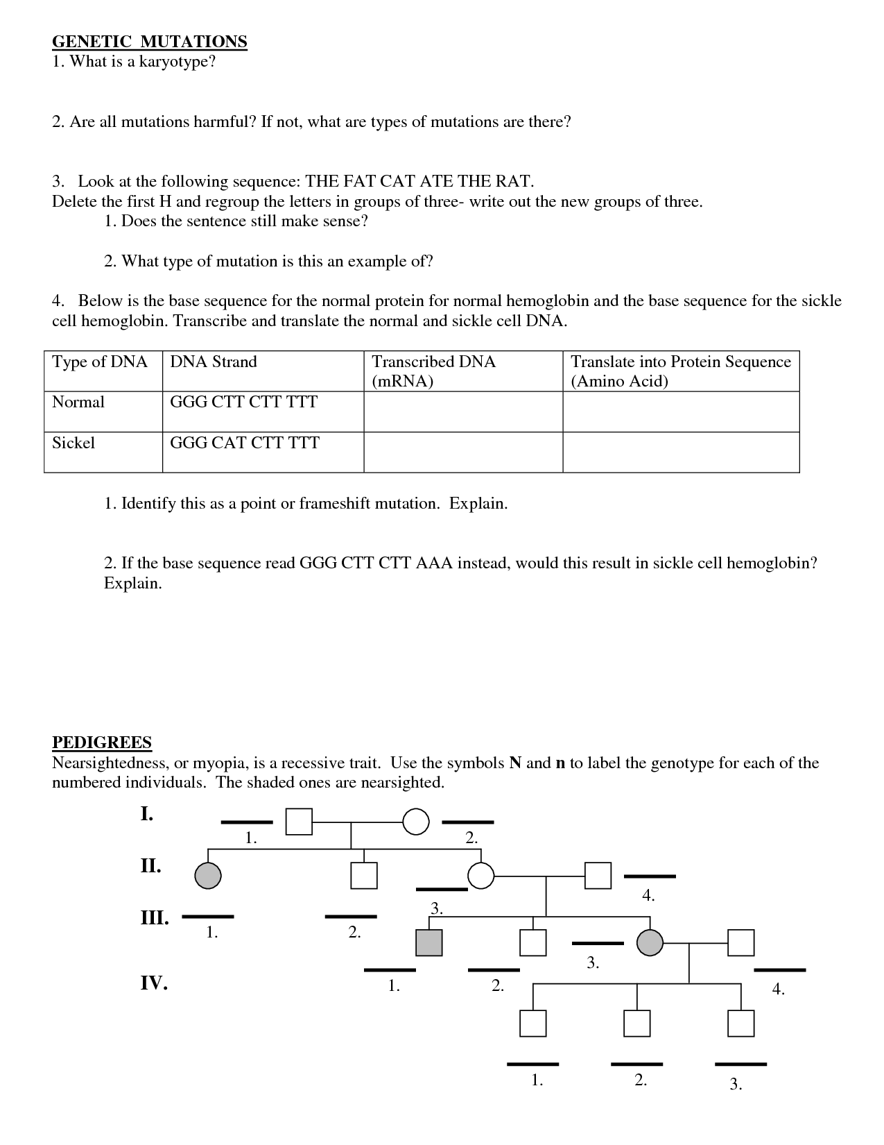 Mutations Worksheet Deletion Insertion And Substitution