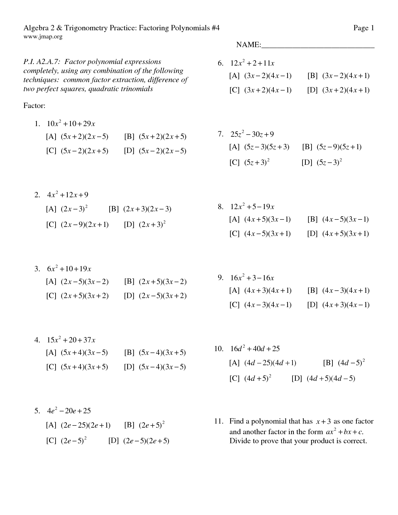 14 Best Images Of Kuta Software Factoring Trinomials Worksheet Answer Key