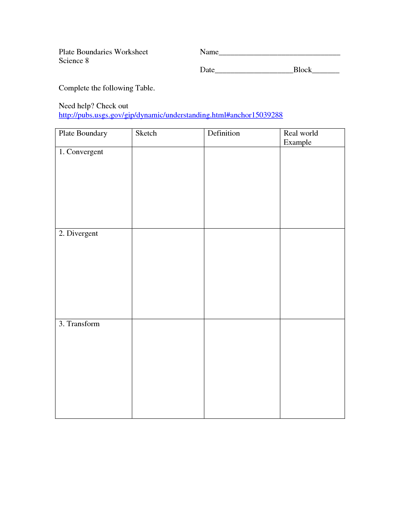 Establishing Boundaries Worksheet