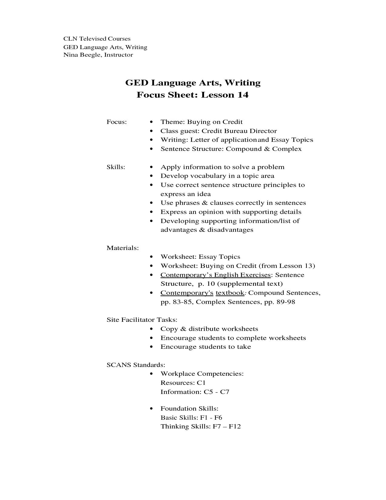Ged Practice Writing Test Worksheet