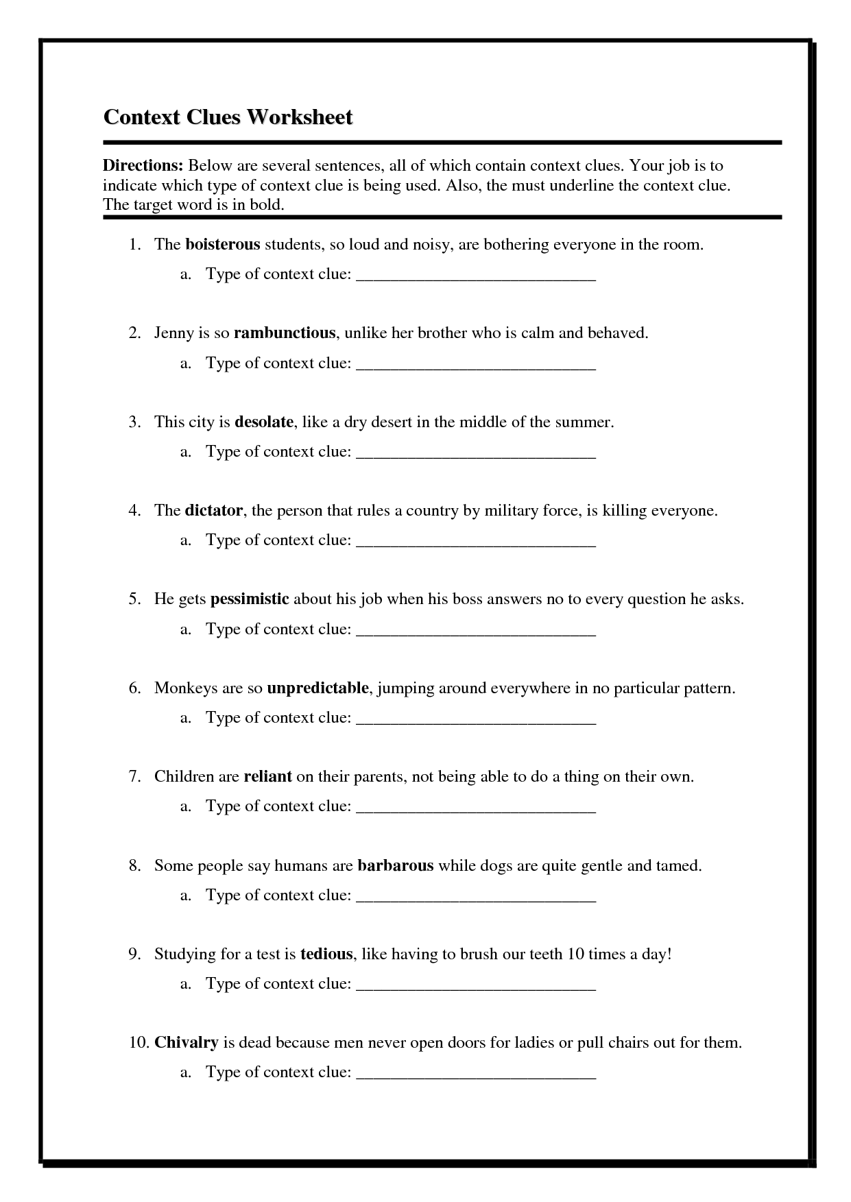 12 Best Images Of Context Clues Worksheets 4th Grade