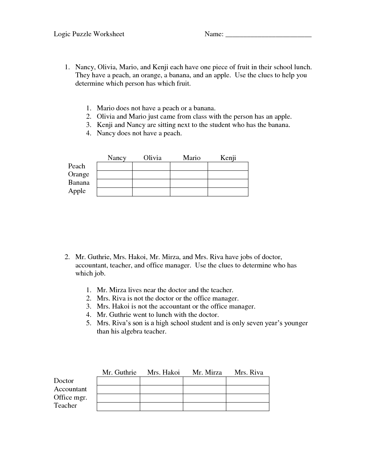 Middle School Robotics Worksheet