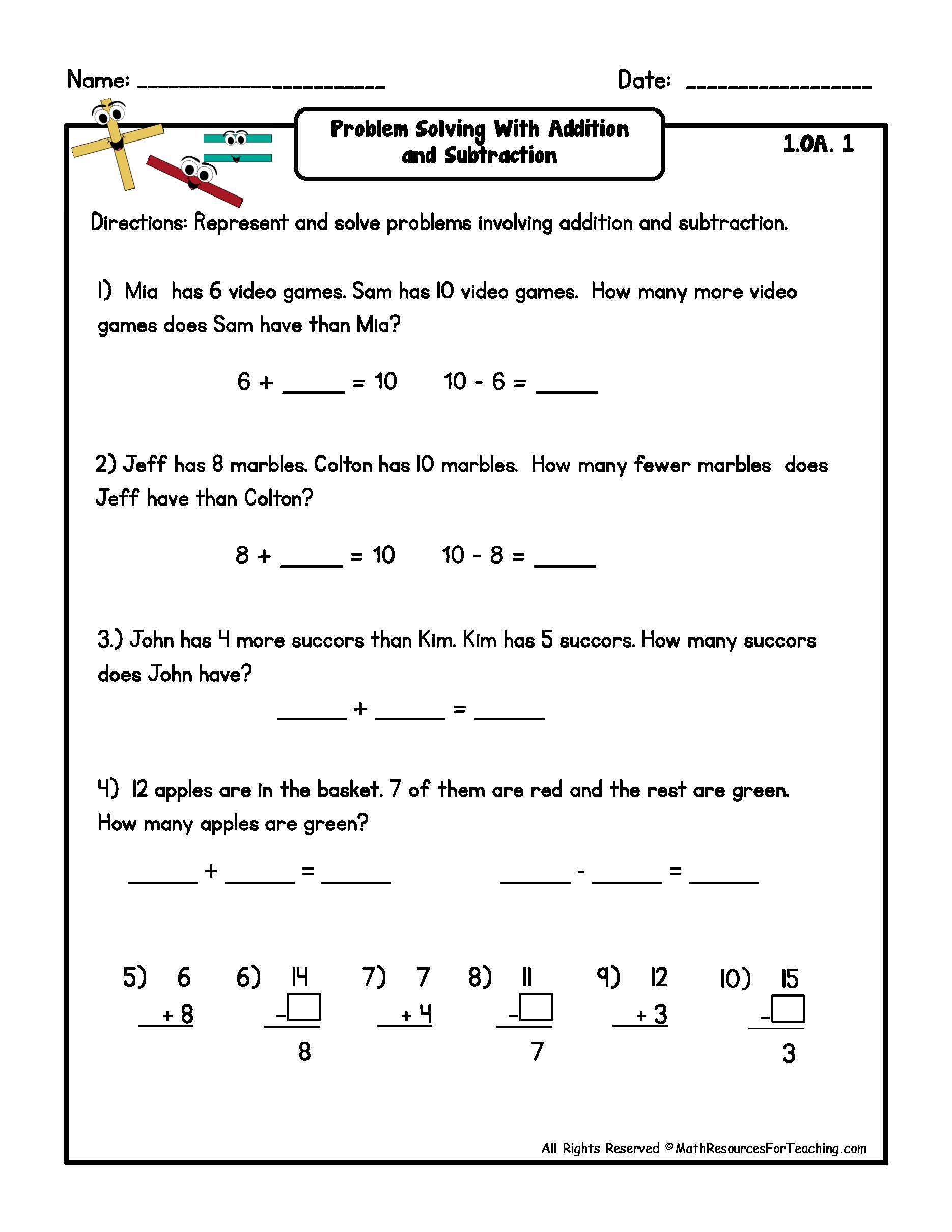 12 Best Images Of 1st Grade Subtraction Word Problems Worksheets