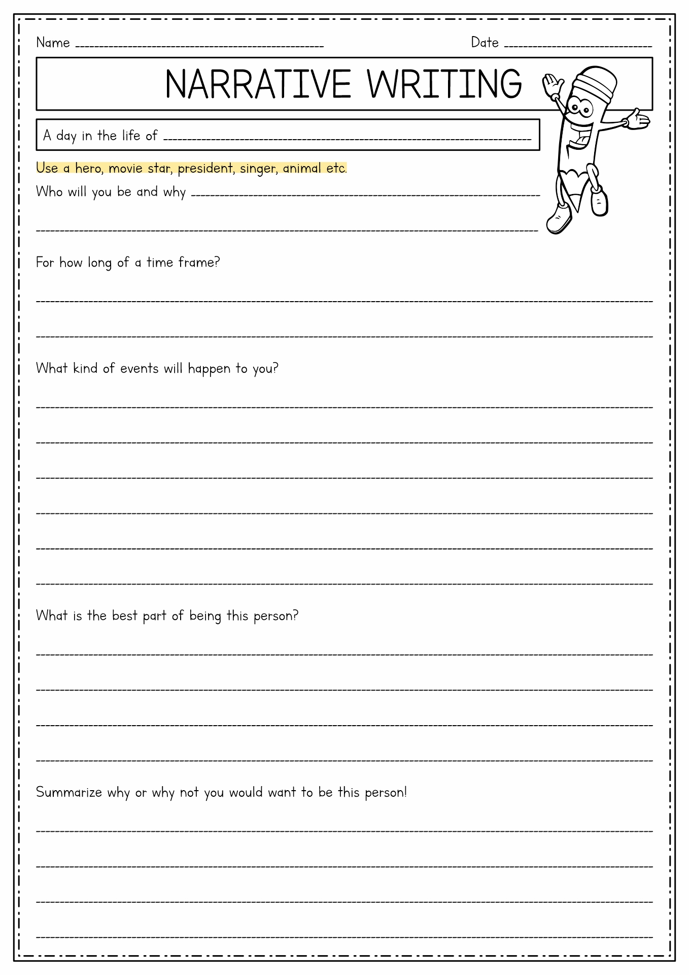 14 Best Images Of Worksheets 4th Grade Narrative Writing