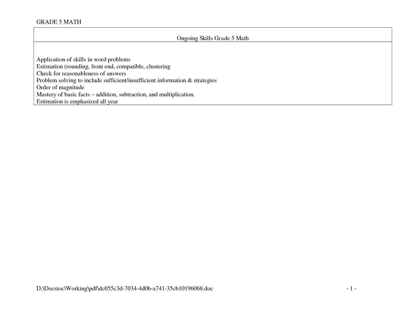 Desamal 5th Grade Division Worksheet Printable