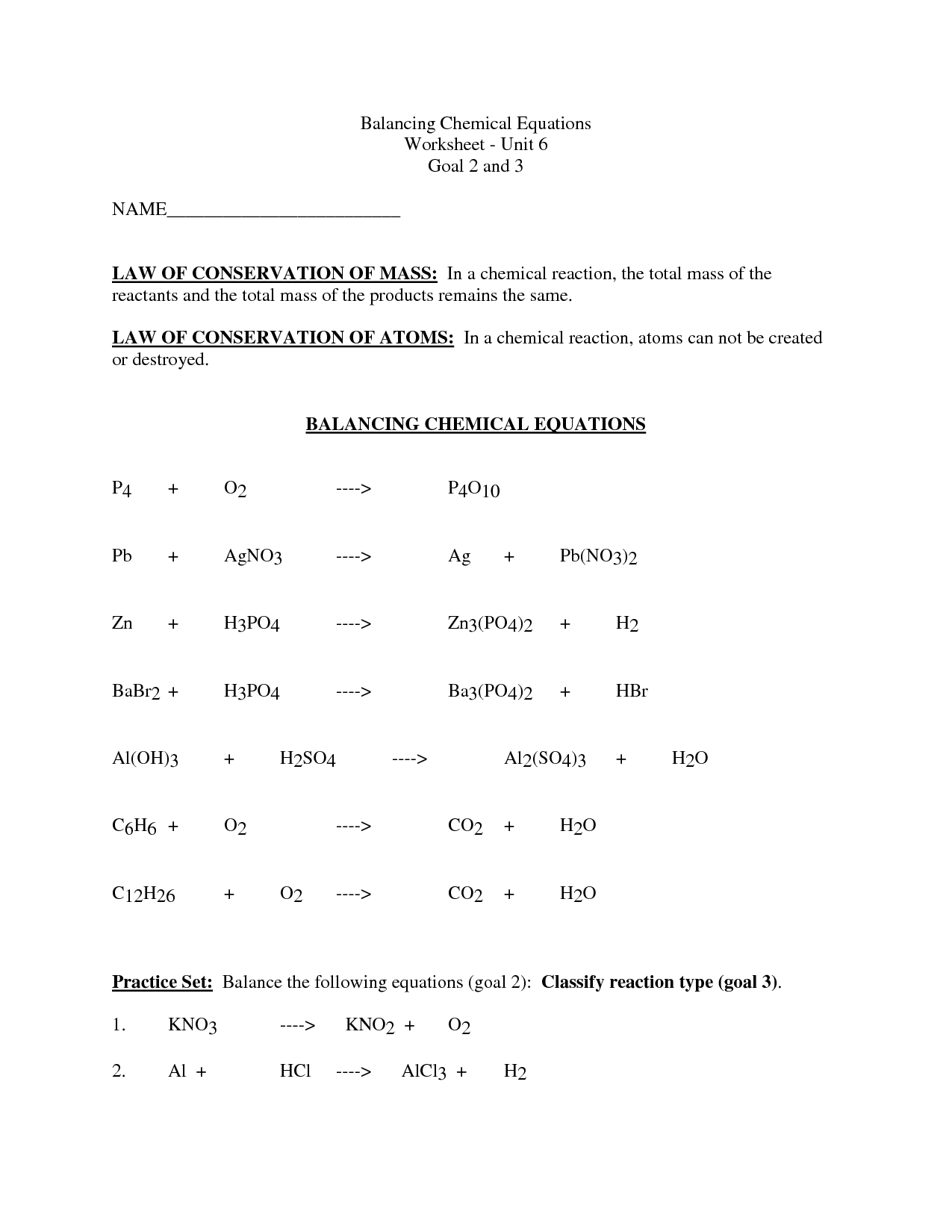 11 Best Images Of Balancing Chemical Equations Worksheet Answer Key