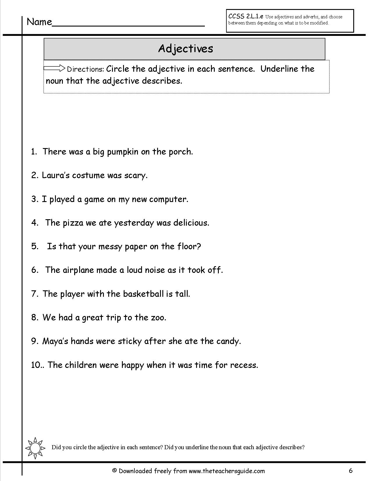 Underline Nouns Worksheet