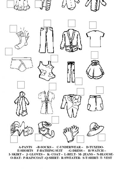 Image Result For Clothes Worksheet To Color
