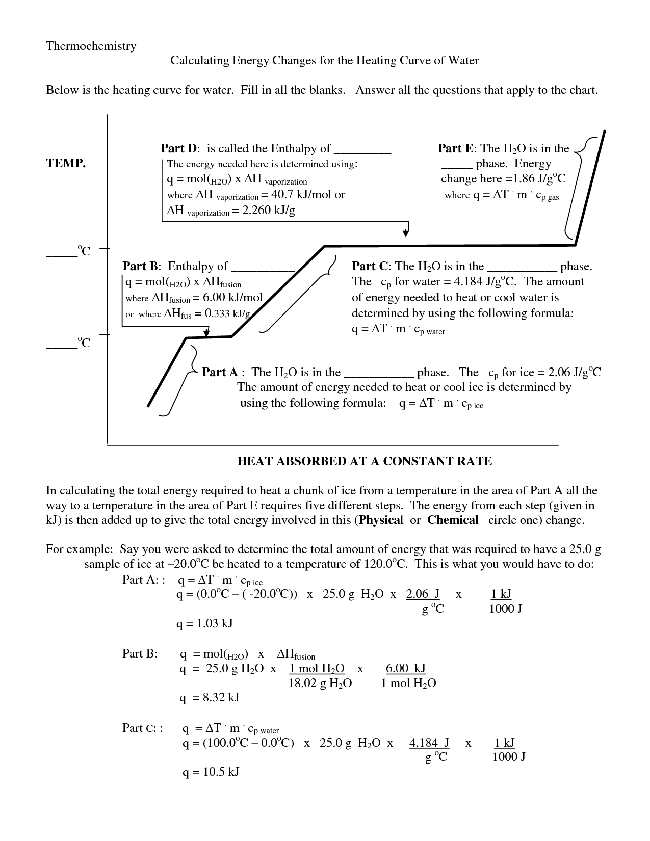 Worksheet Heating Curve Worksheet Answers Worksheet Fun