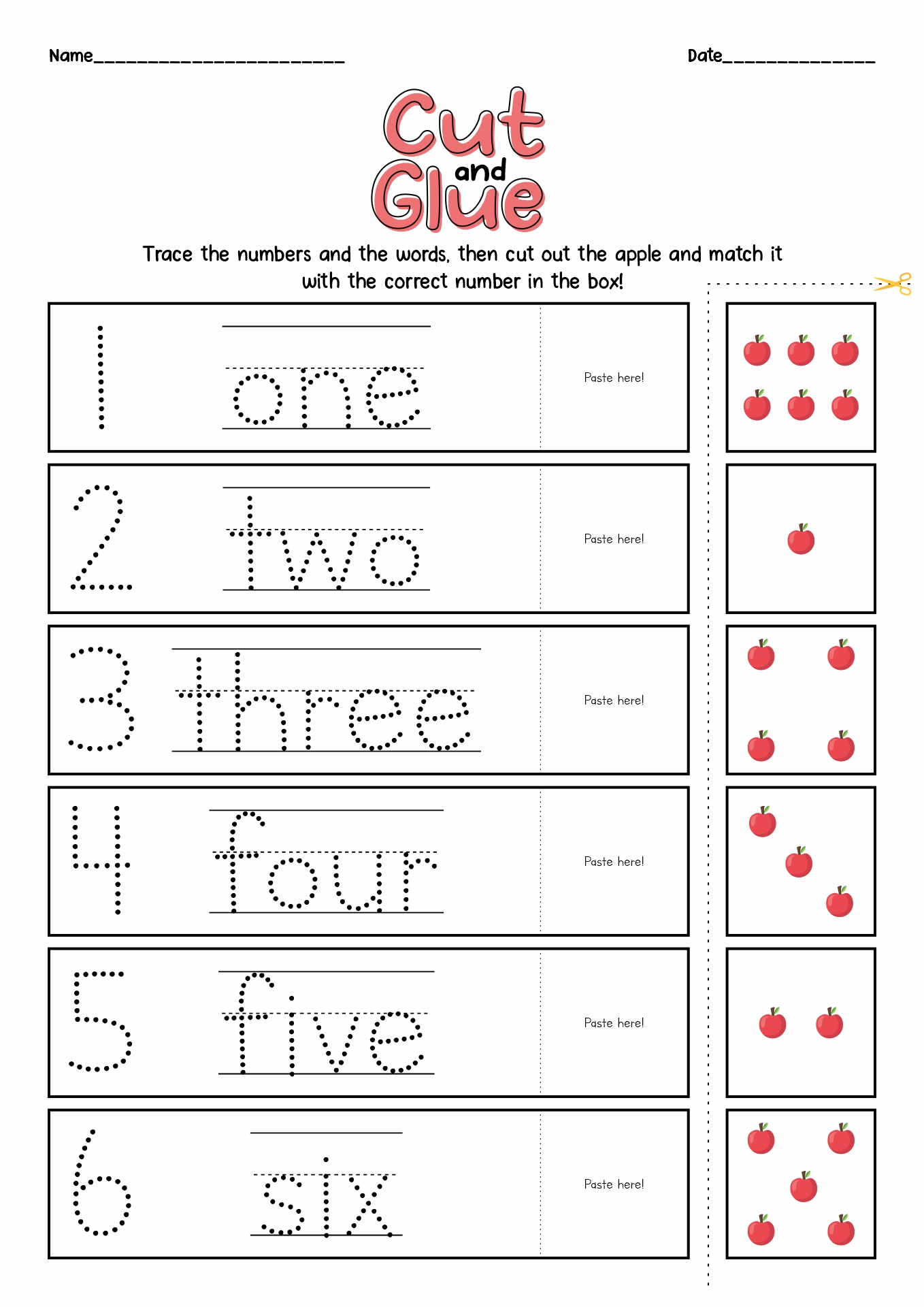 14 Best Images Of Number Cut Out Worksheet