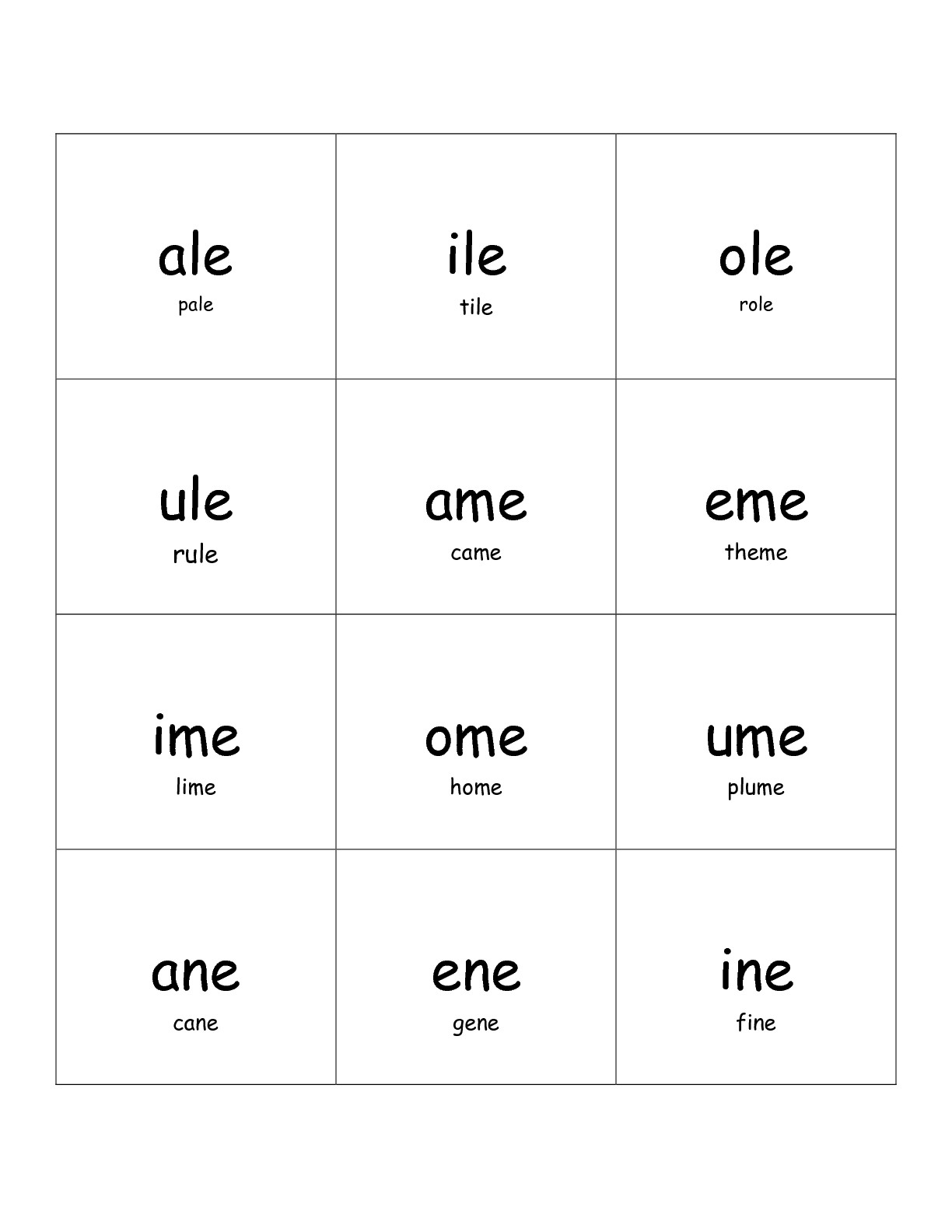 Long E Printable Worksheet