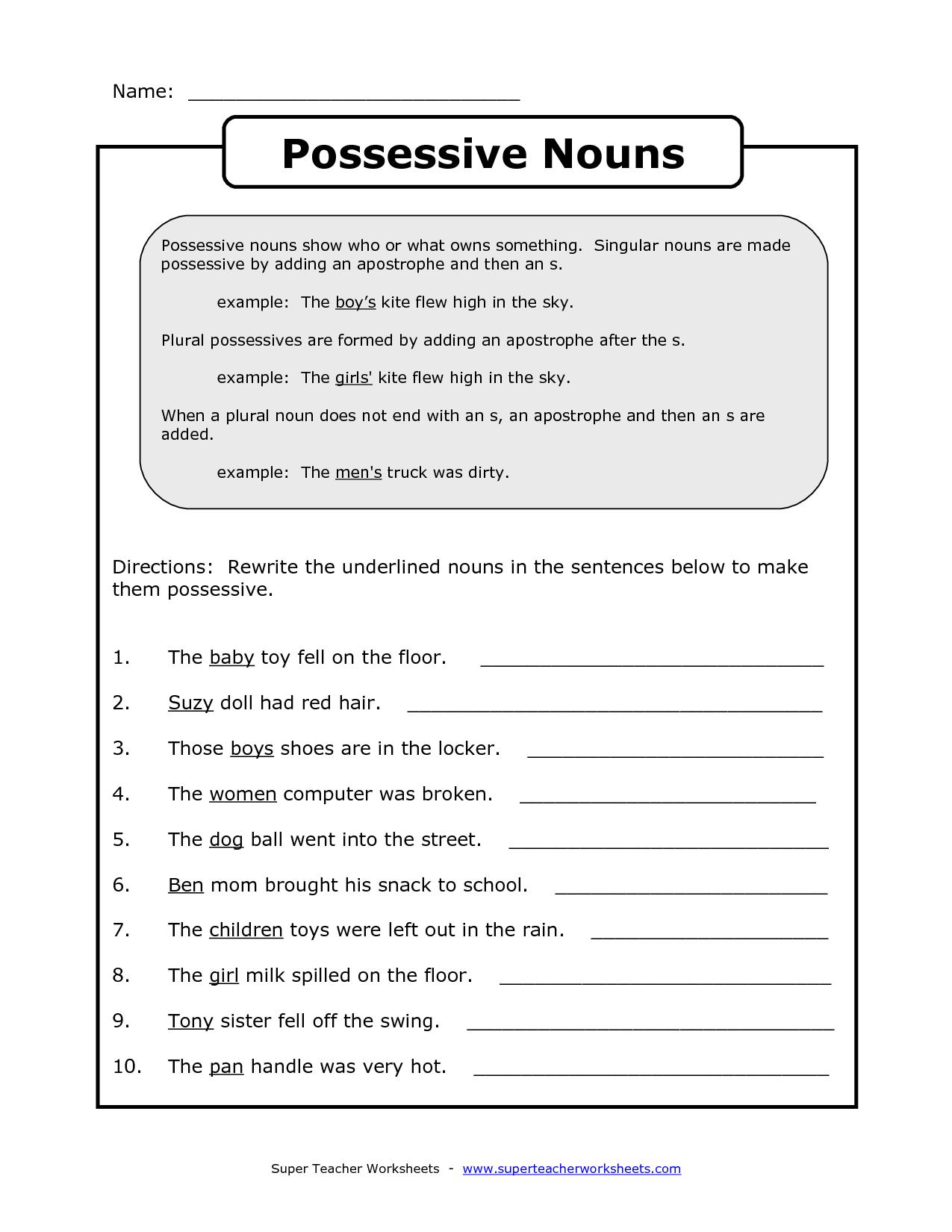 18 Best Images Of Possessive Nouns Printable Worksheets