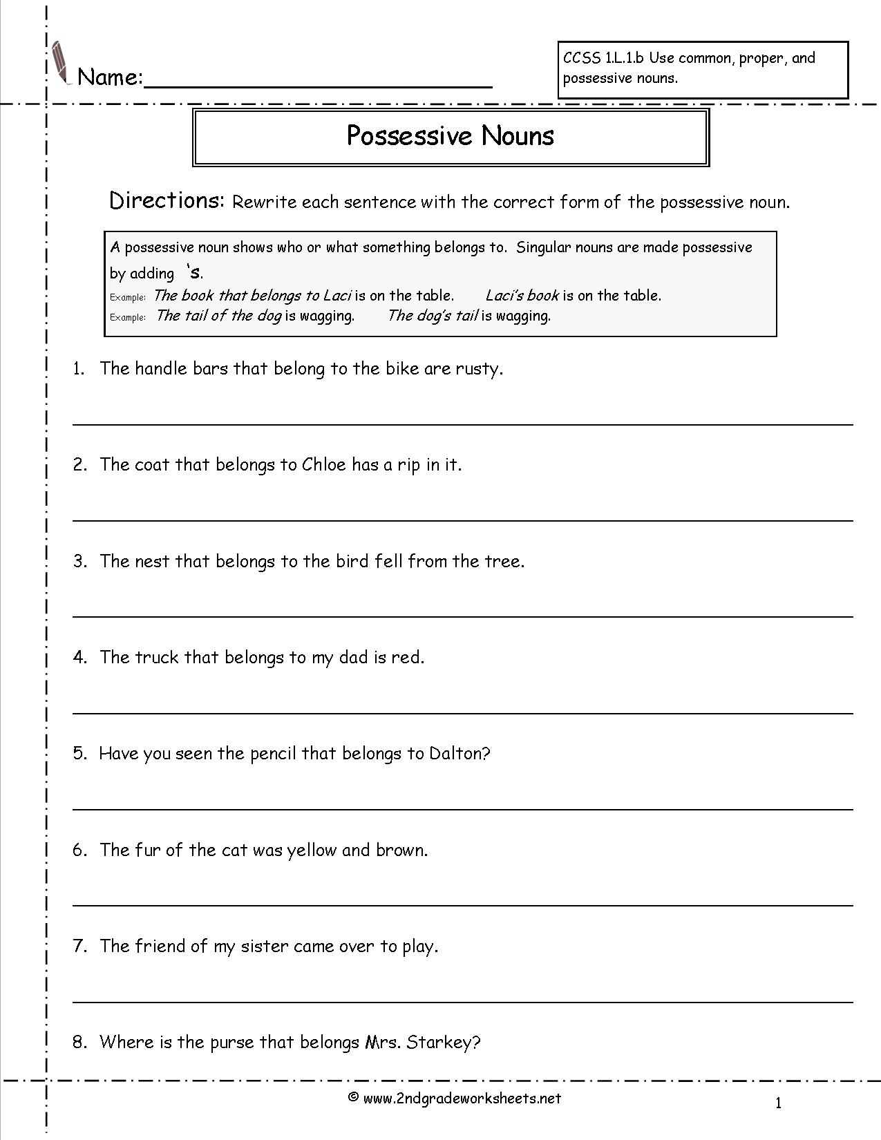 18 Best Images Of Possessive Nouns Printable Worksheets