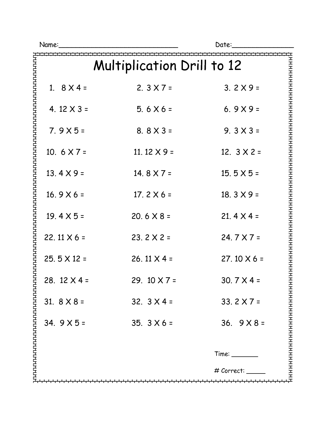 15 Best Images Of Multiplication Drill Worksheets