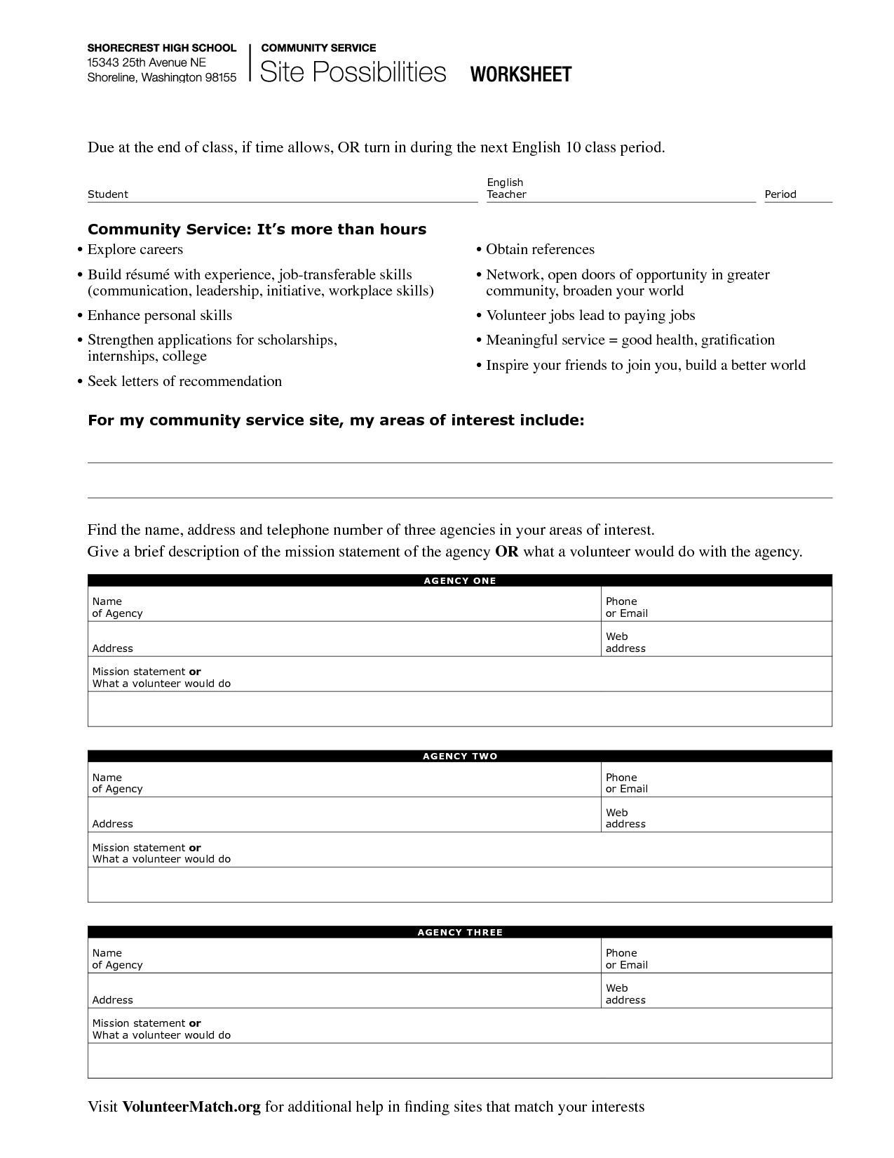29 Community Service Hours Worksheet