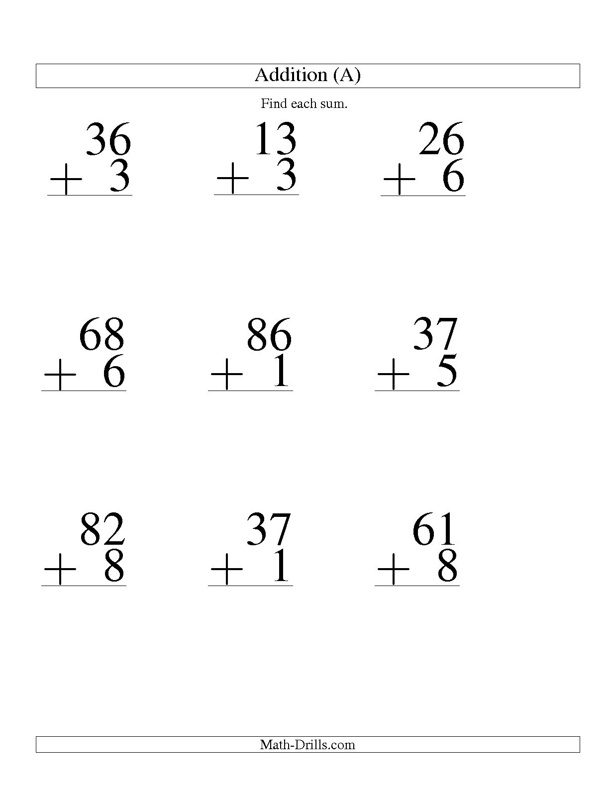 15 Best Images Of 1 Digit Math Worksheets