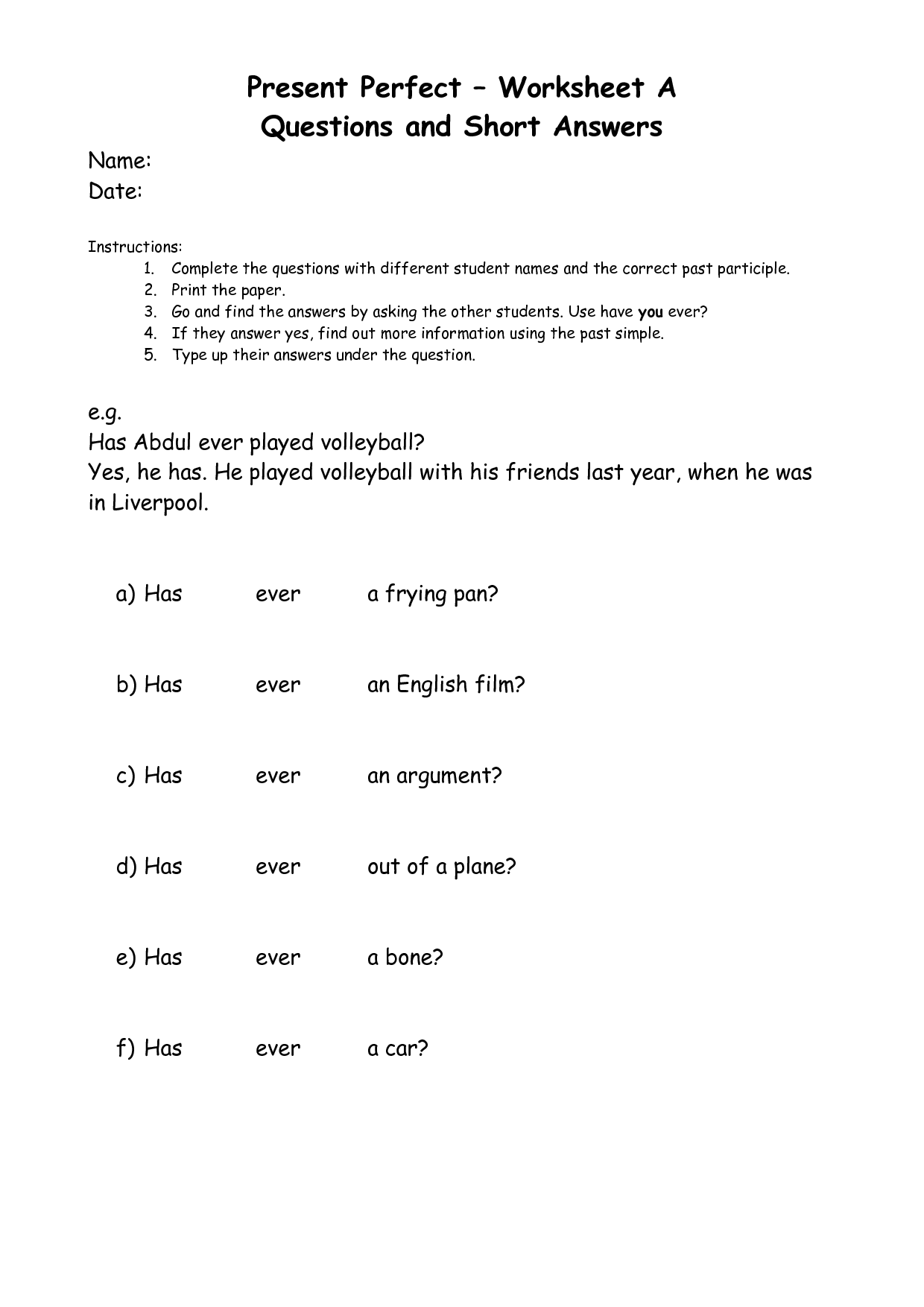 10 Best Images Of Participle Worksheet With Answers