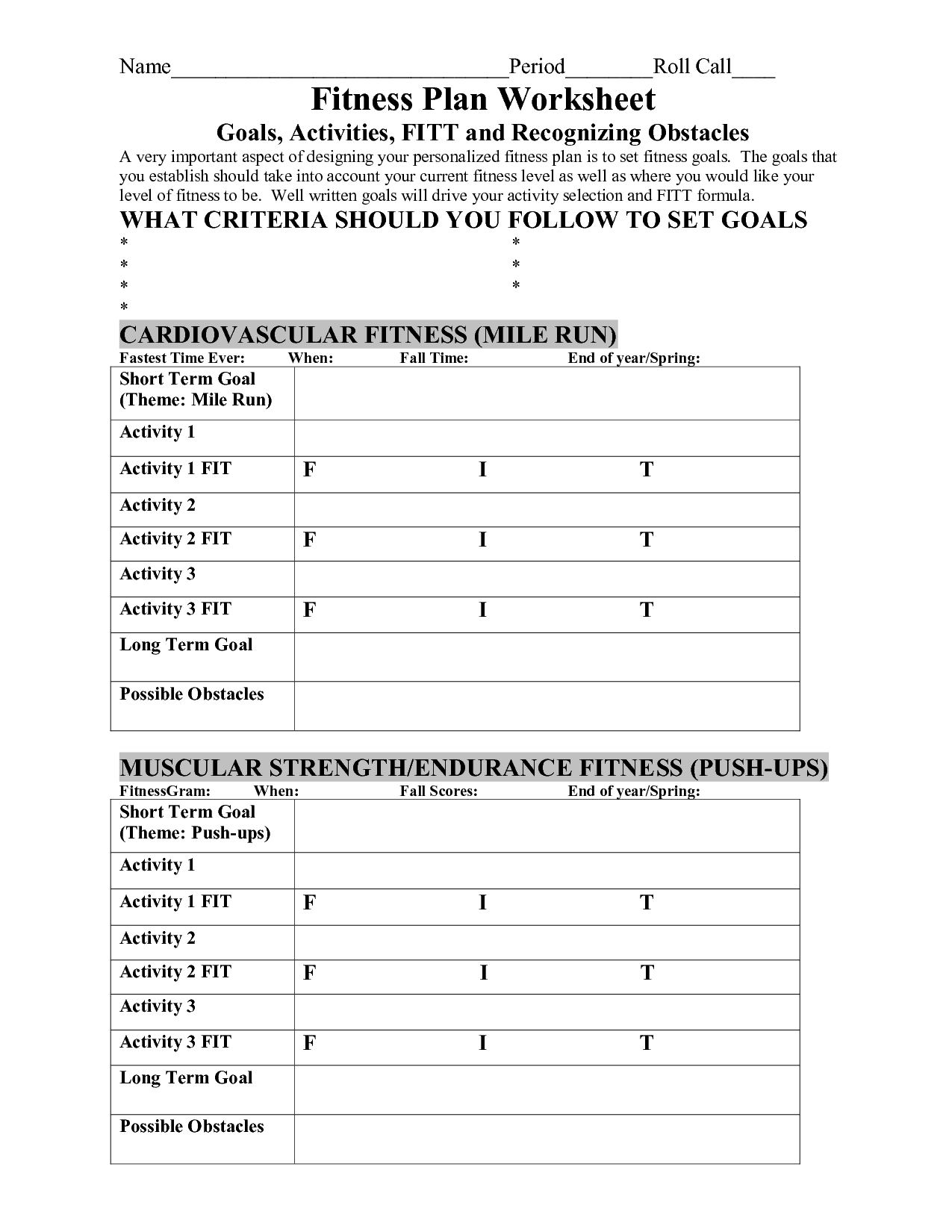 Workout Goal Worksheet For Adults