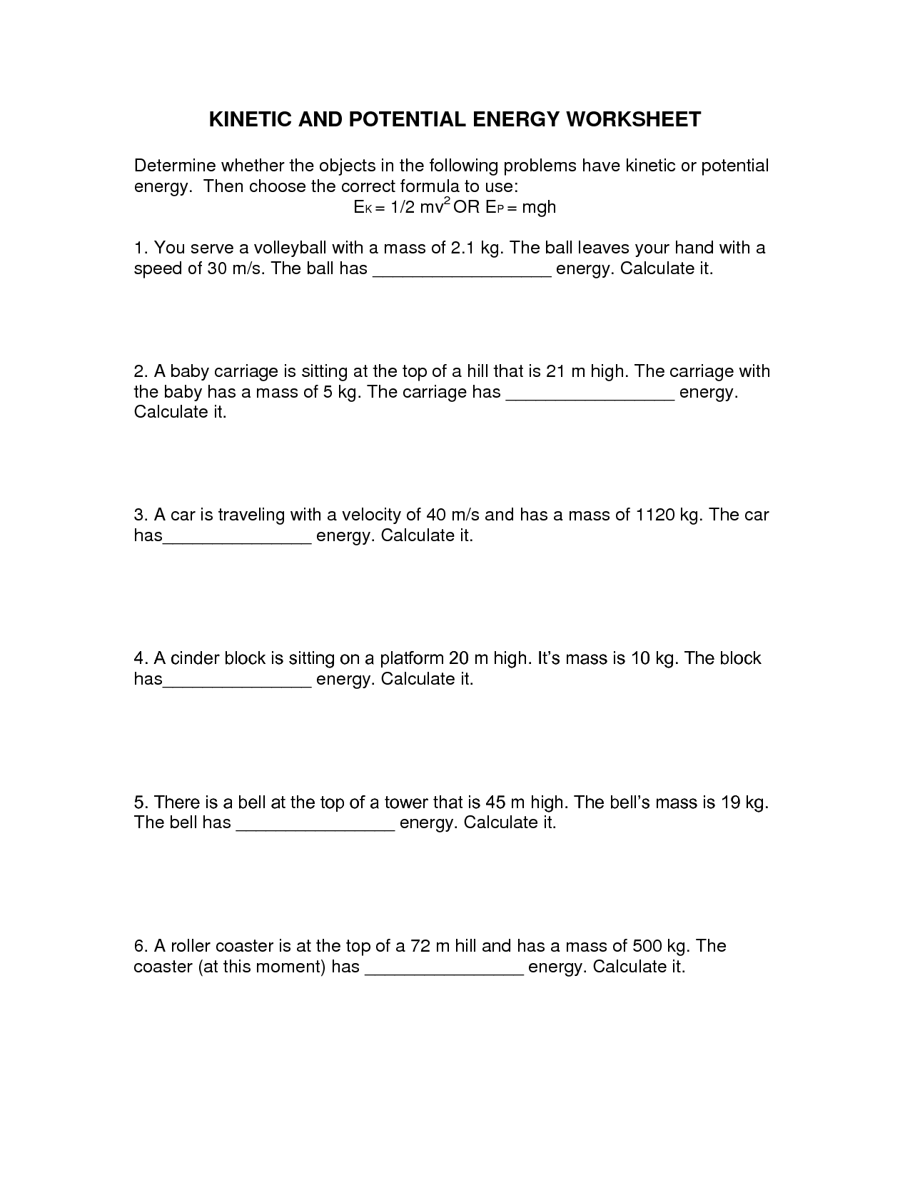 Potential Vs Kinetic Energy Calculations Worksheet Answers